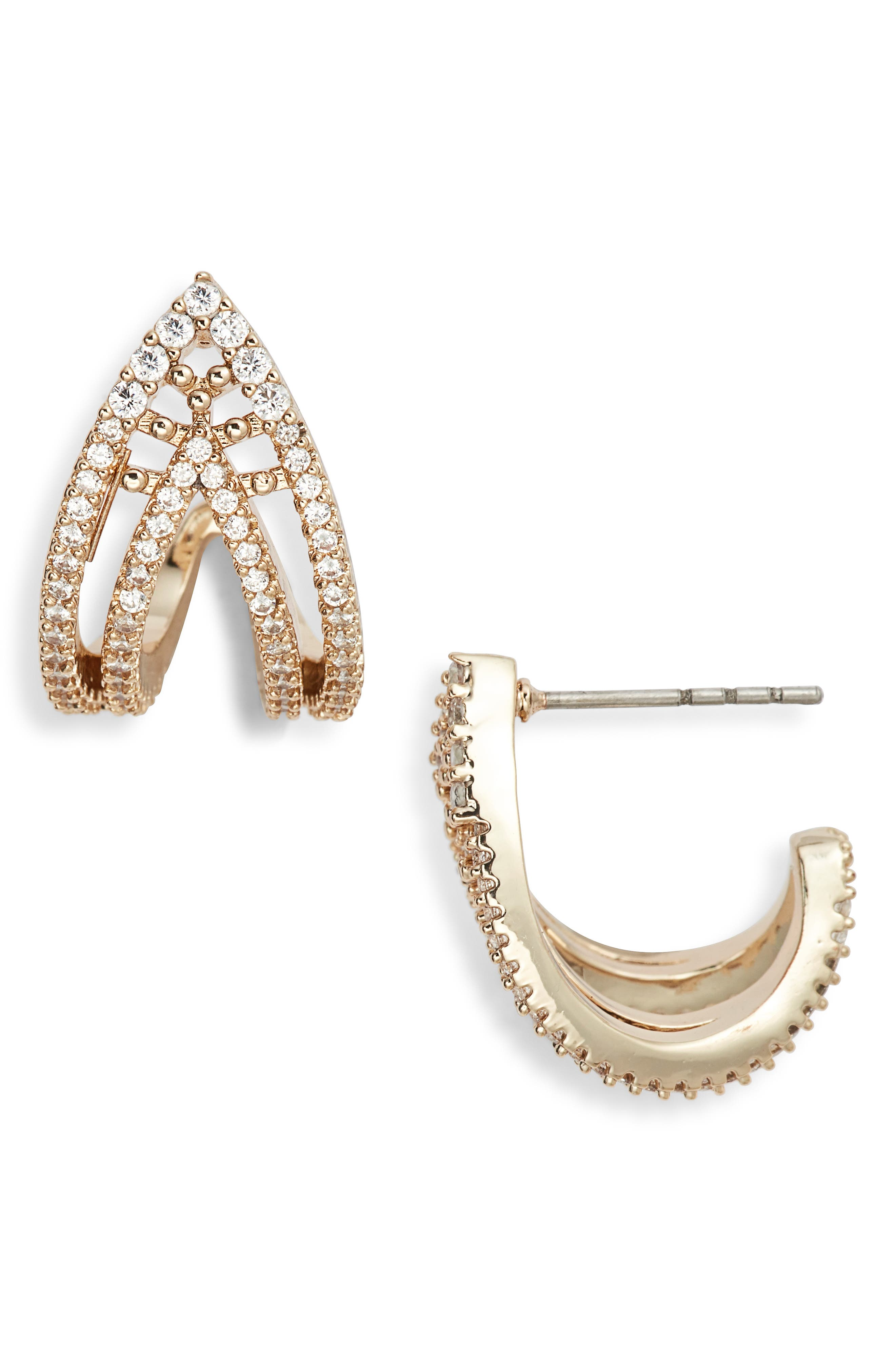 JENNY PACKHAM Pave Curved Open Stud Earrings in Gold