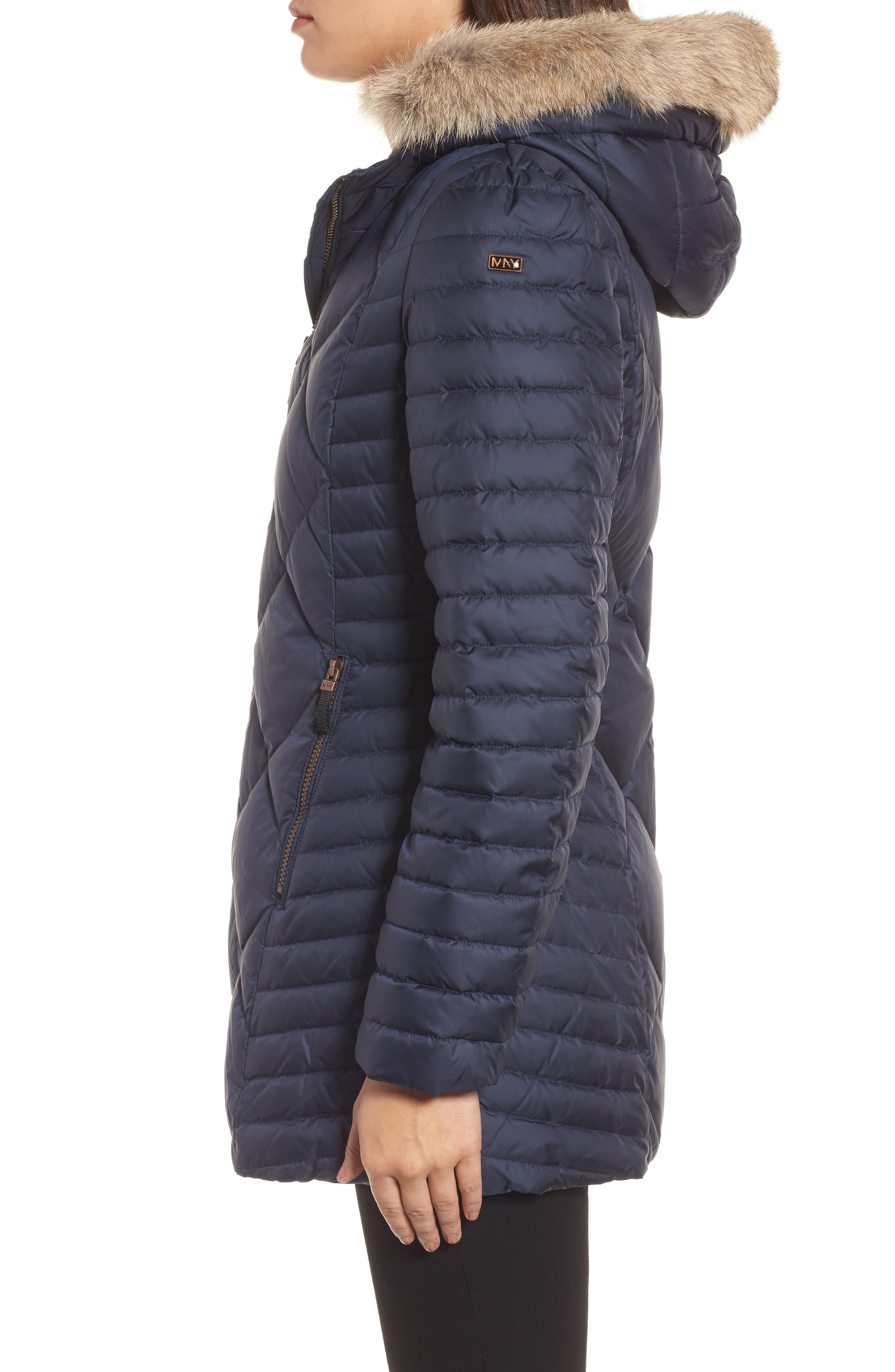 Hooded Coat with Genuine Coyote Fur Trim,                             Alternate thumbnail 6, color,