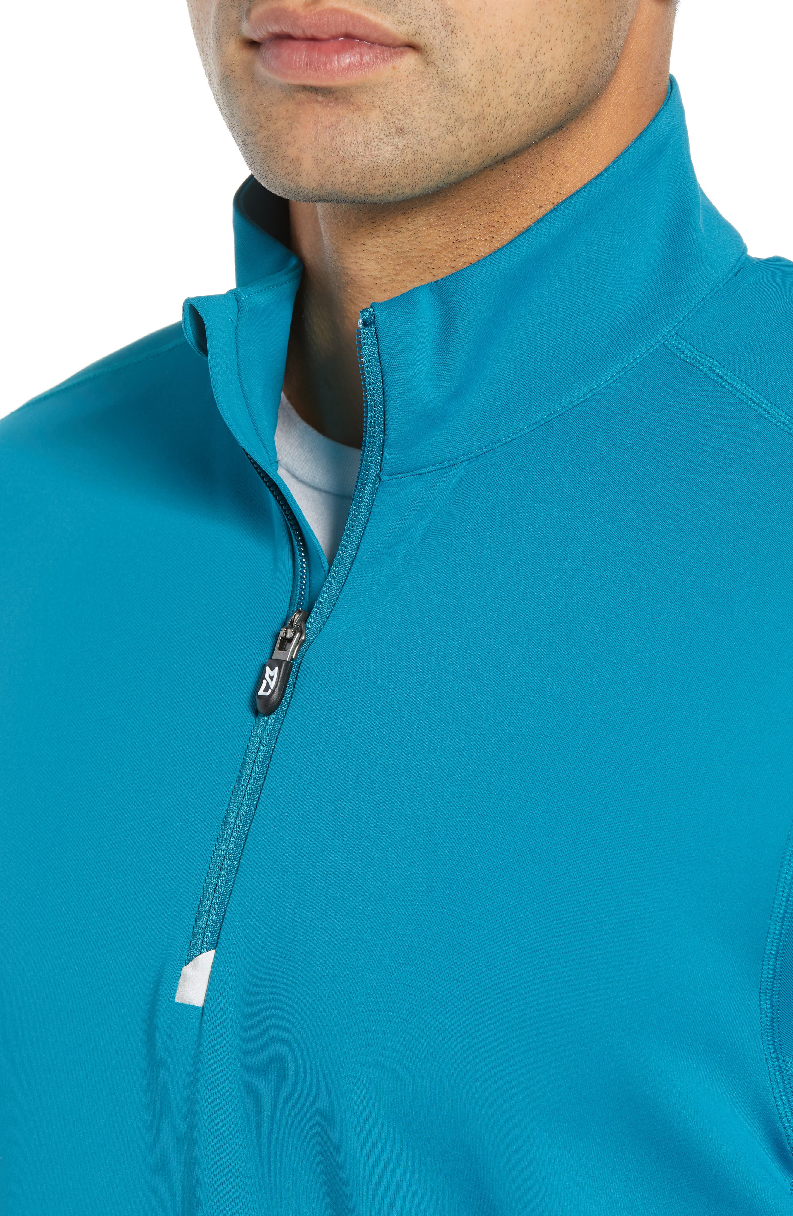 Traverse Regular Fit Quarter Zip Pullover,                             Alternate thumbnail 4, color,                             TEAL BLUE