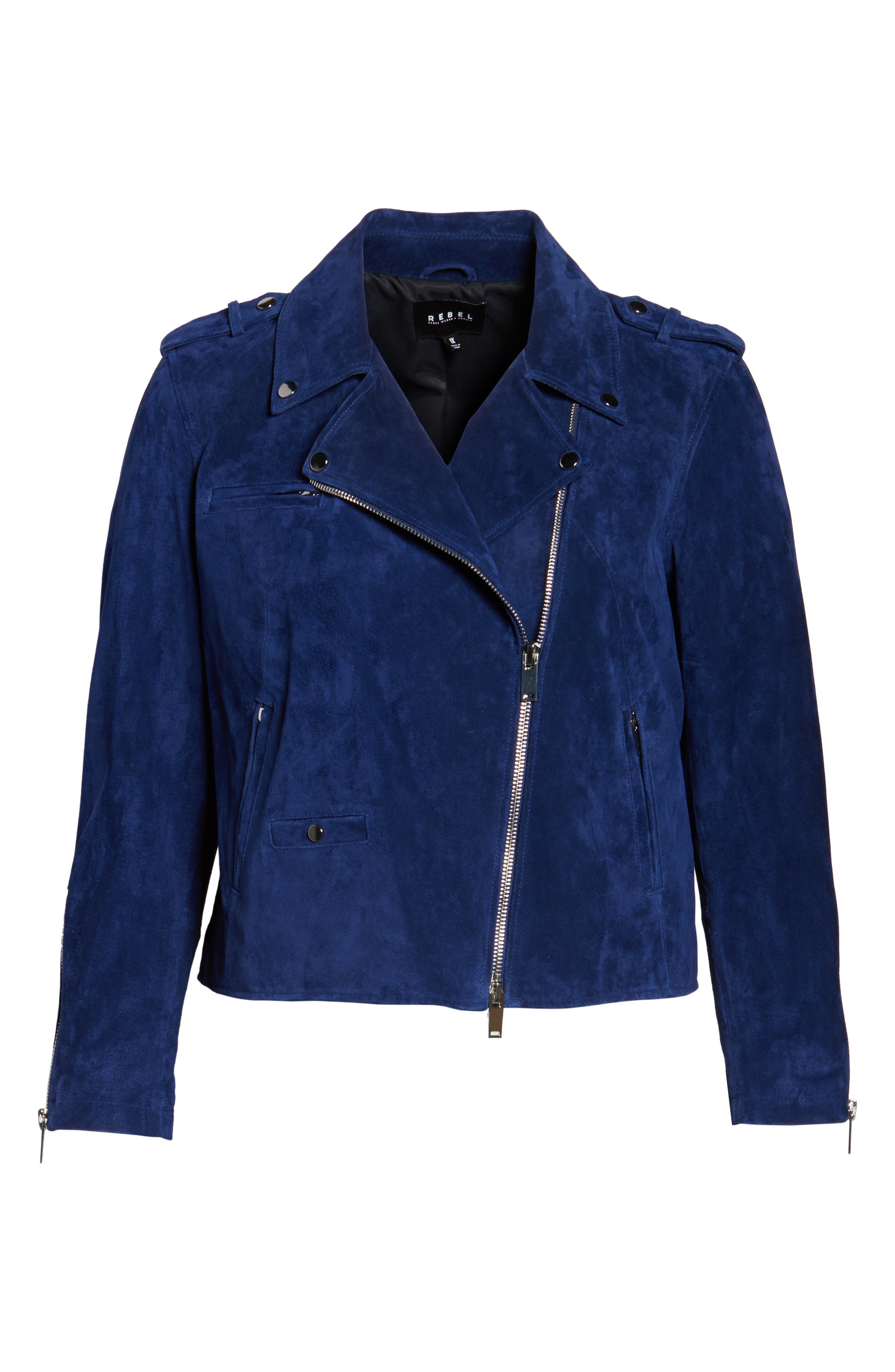 Suede Moto Jacket,                             Alternate thumbnail 15, color,