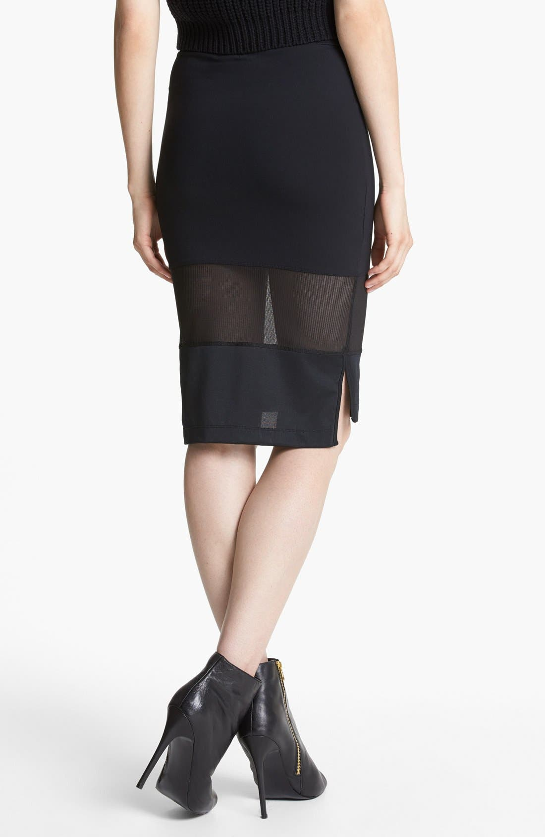 Mesh Mix Pencil Skirt,                             Alternate thumbnail 2, color,