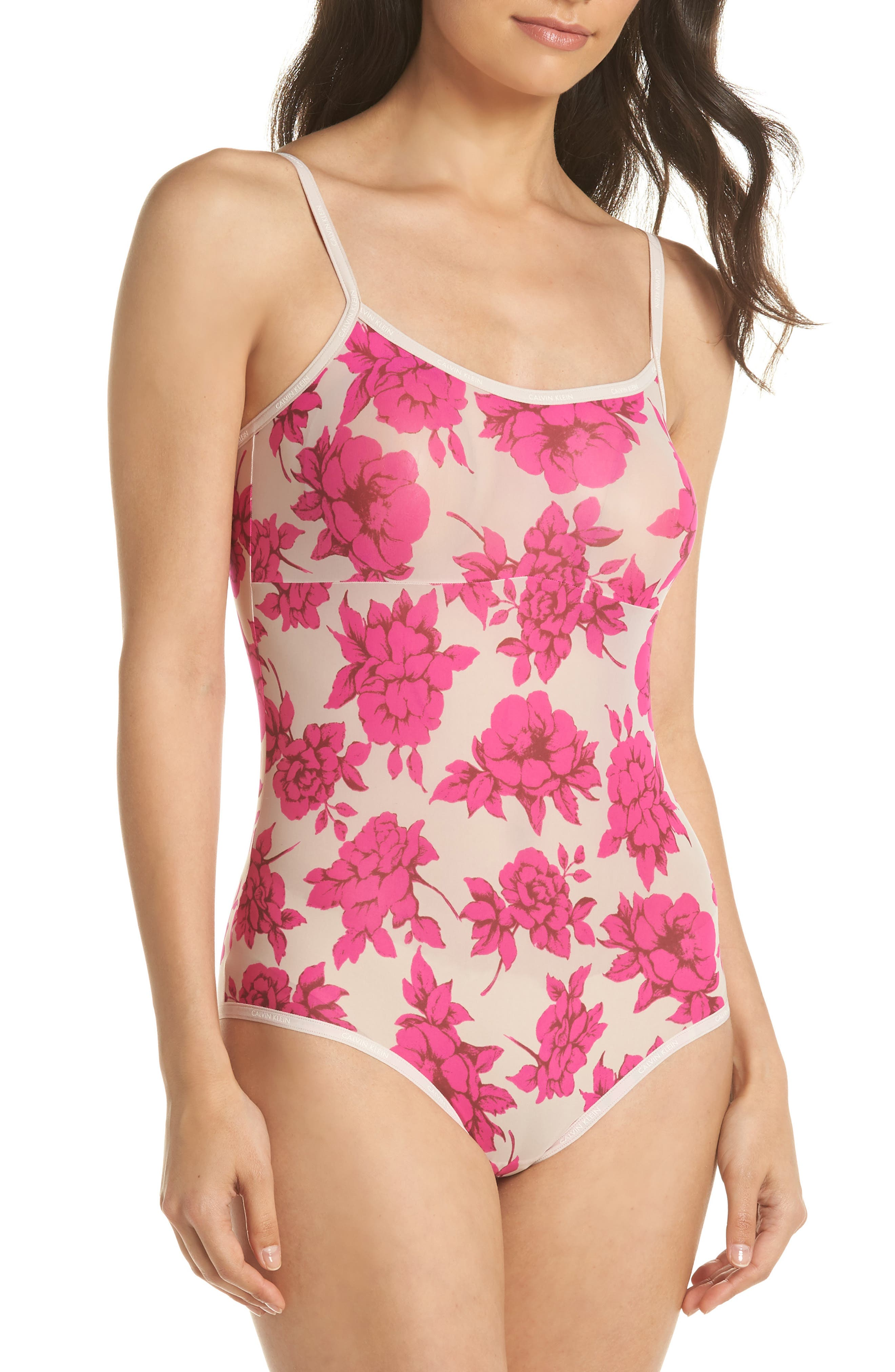 Marquisette Bodysuit,                         Main,                         color, DARLING ROSES