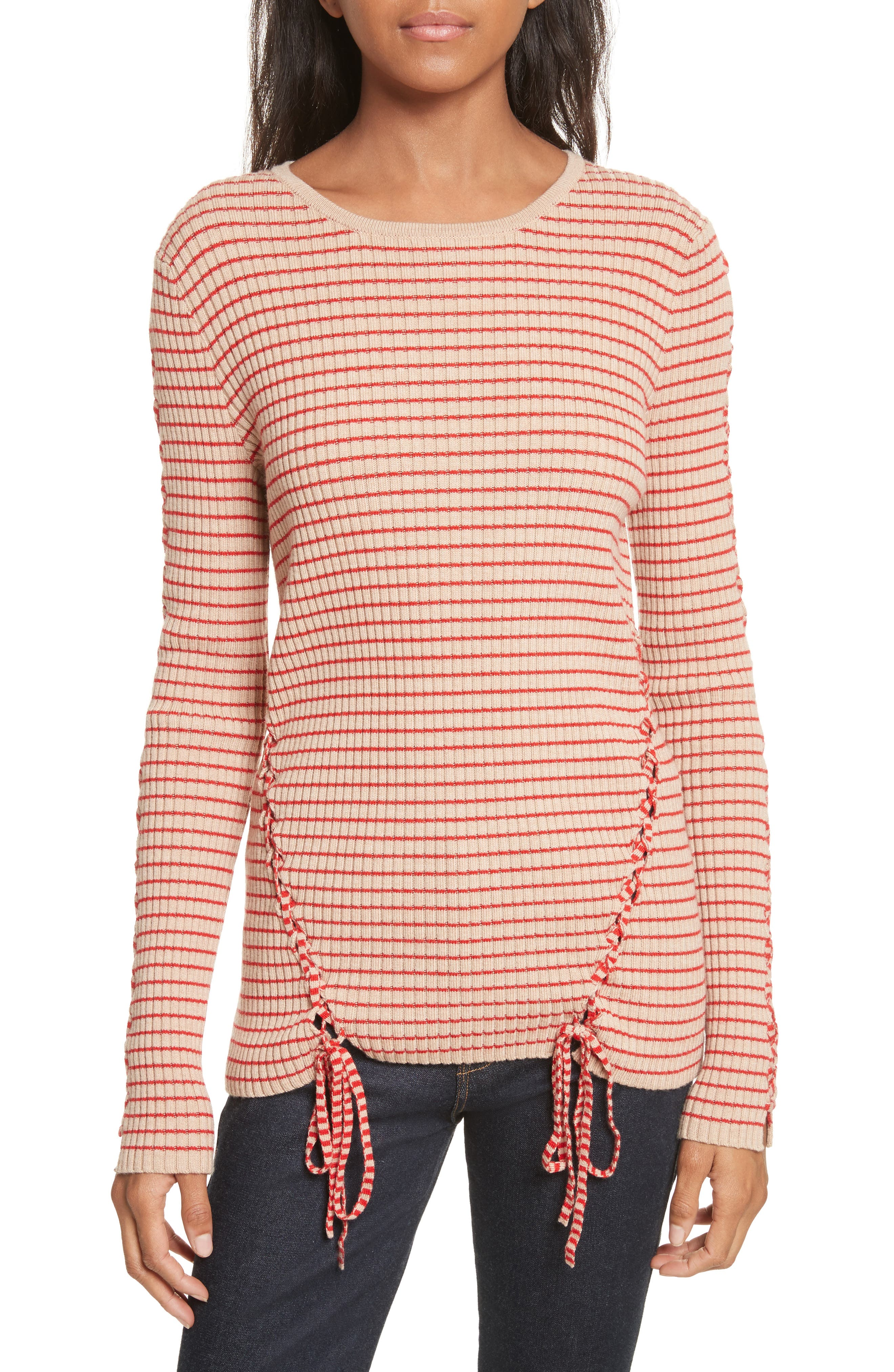 Palos Lace-Up Stretch Wool Top,                             Main thumbnail 1, color,                             250