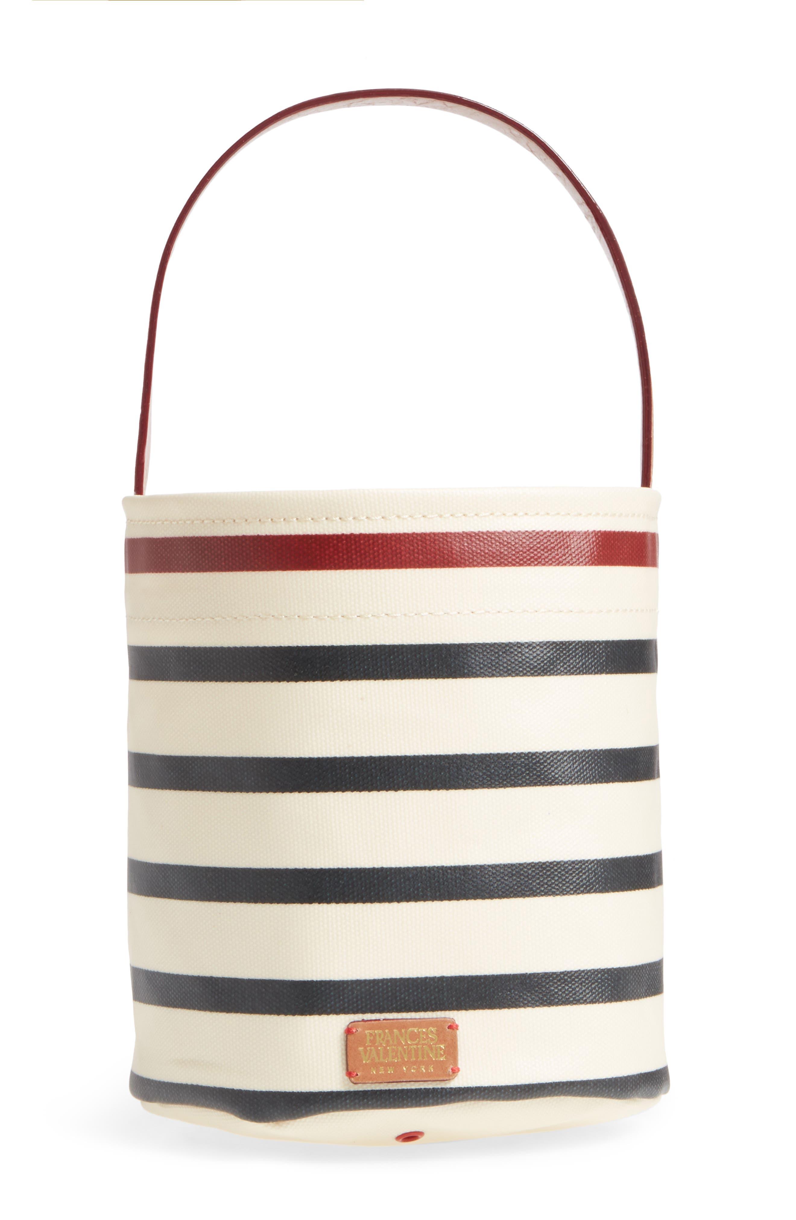 Small Stripe Canvas Bucket Bag,                         Main,                         color, 100