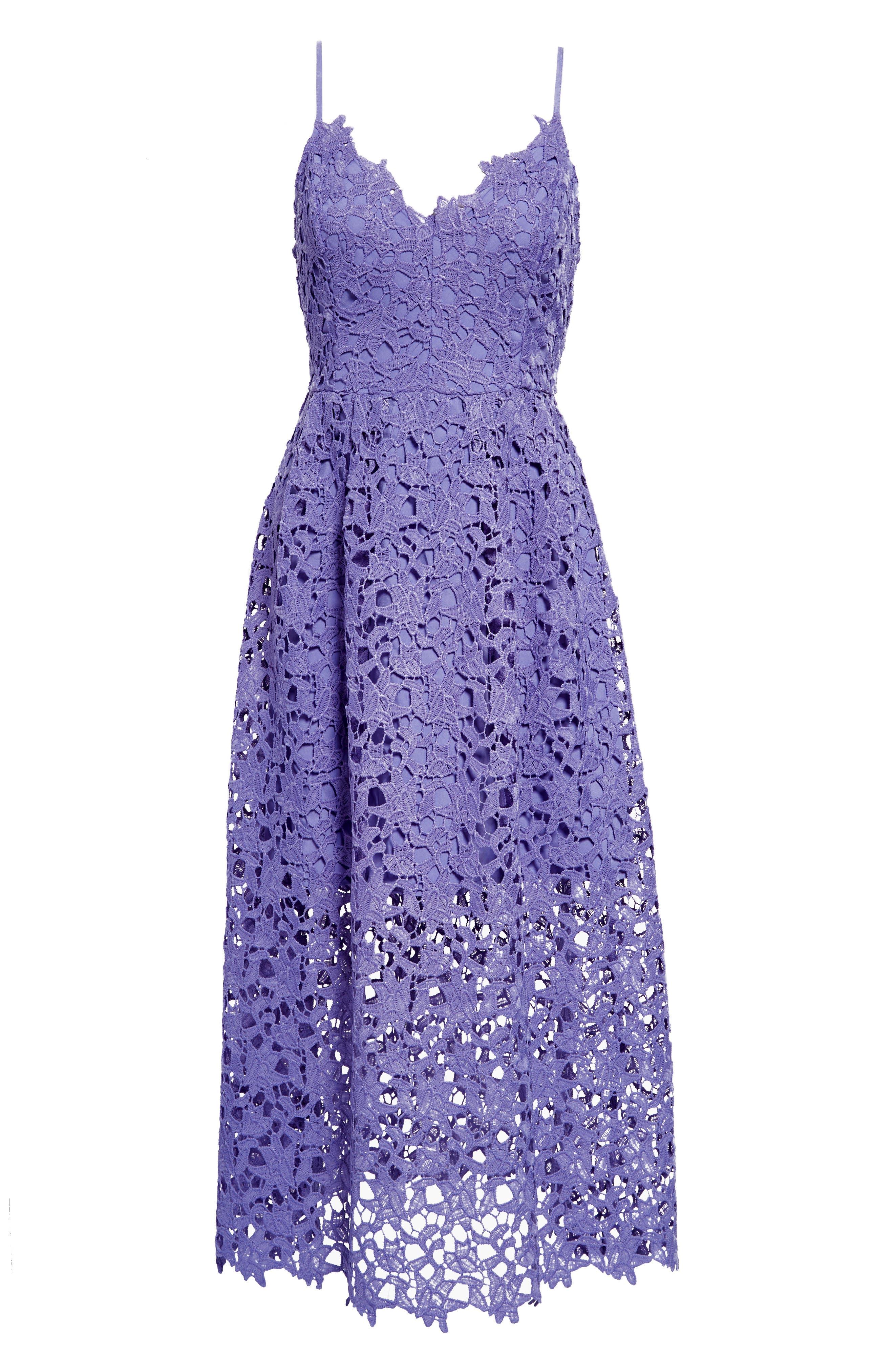 Lace Midi Dress,                             Alternate thumbnail 7, color,                             PURPLE ORCHID