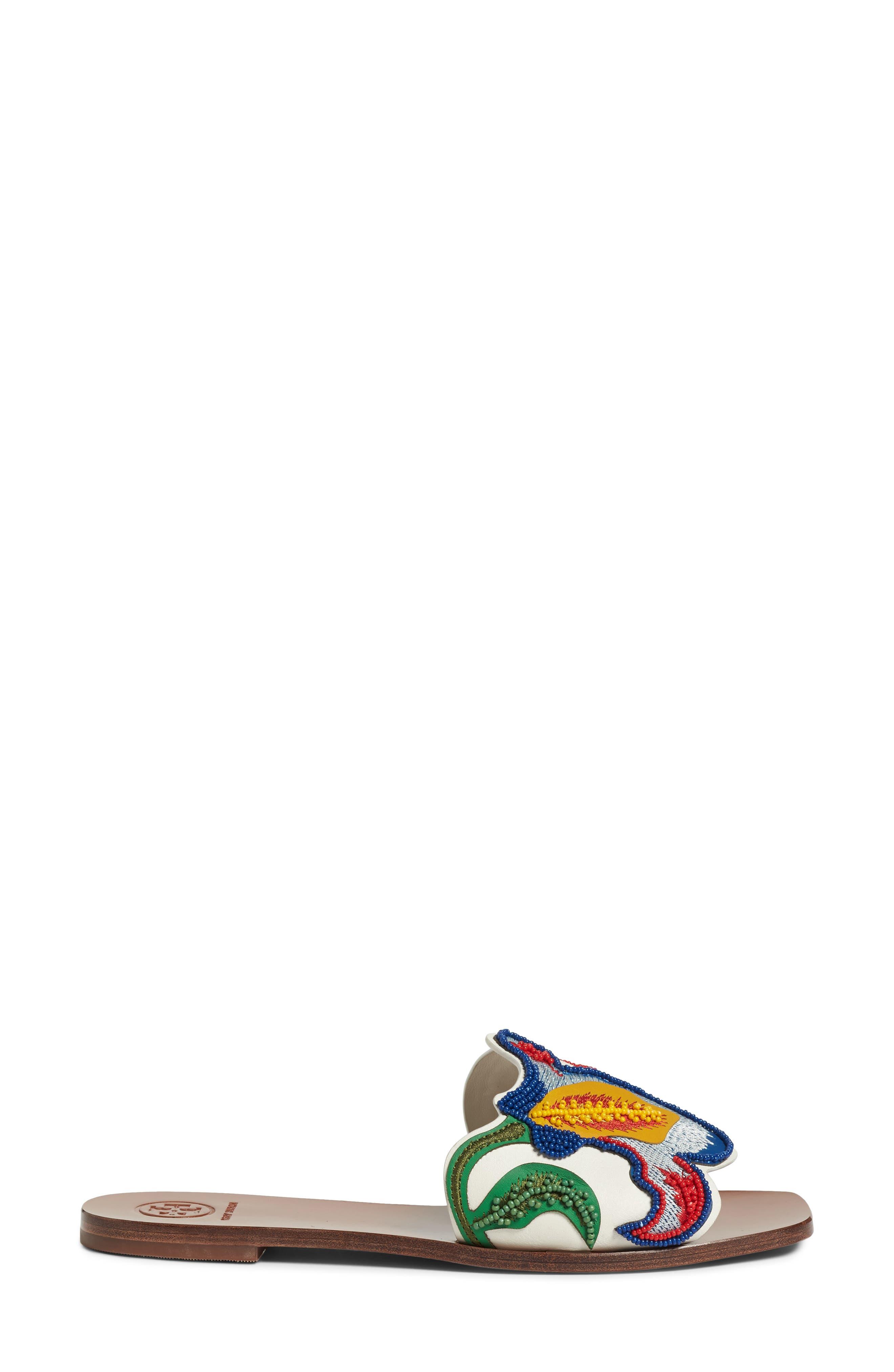 TORY BURCH,                             Bianca Floral Embellished Slide Sandal,                             Alternate thumbnail 3, color,                             900