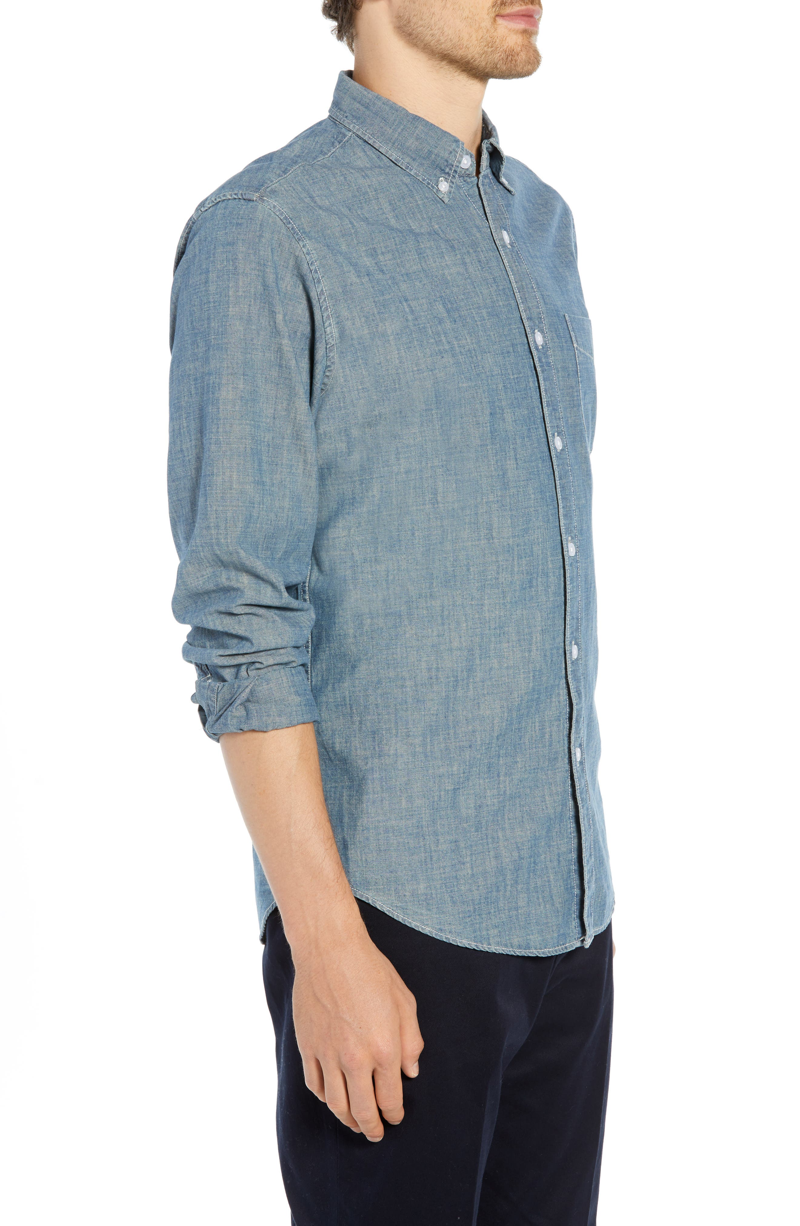 Slim Fit Indigo Japanese Chambray Shirt,                             Alternate thumbnail 4, color,                             INDIGO