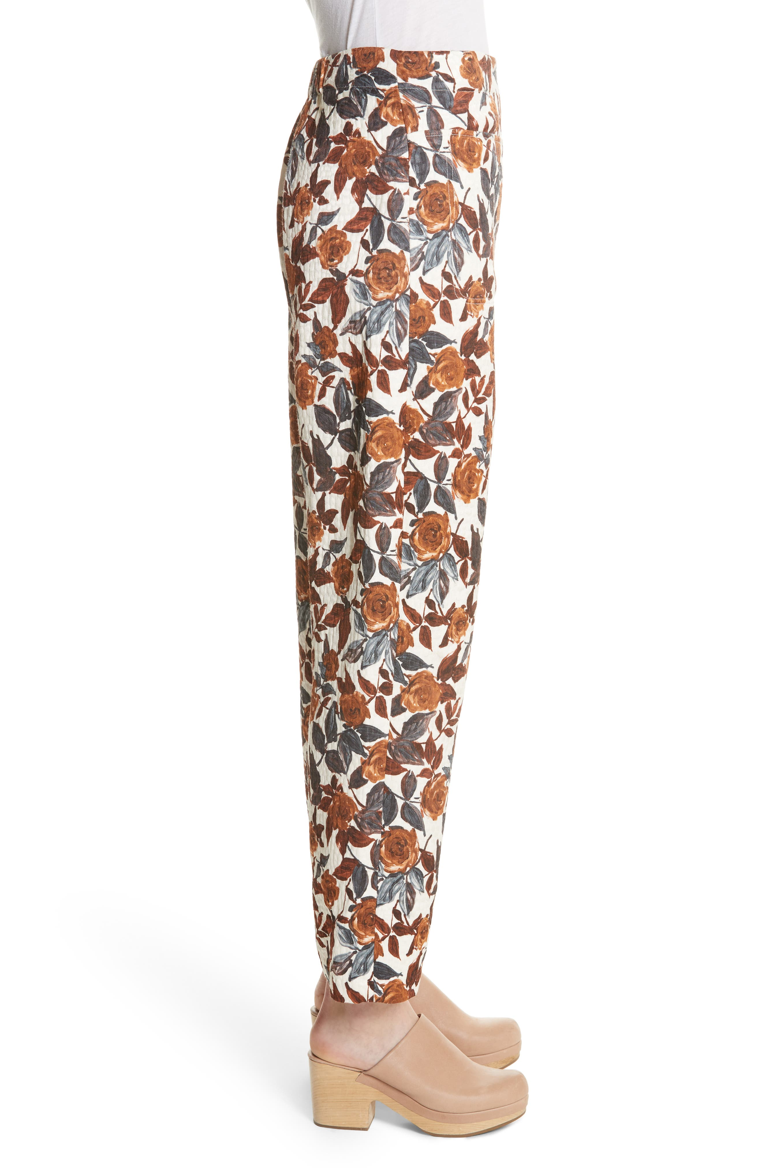 Barrie Floral Print Pants,                             Alternate thumbnail 3, color,                             BROWN