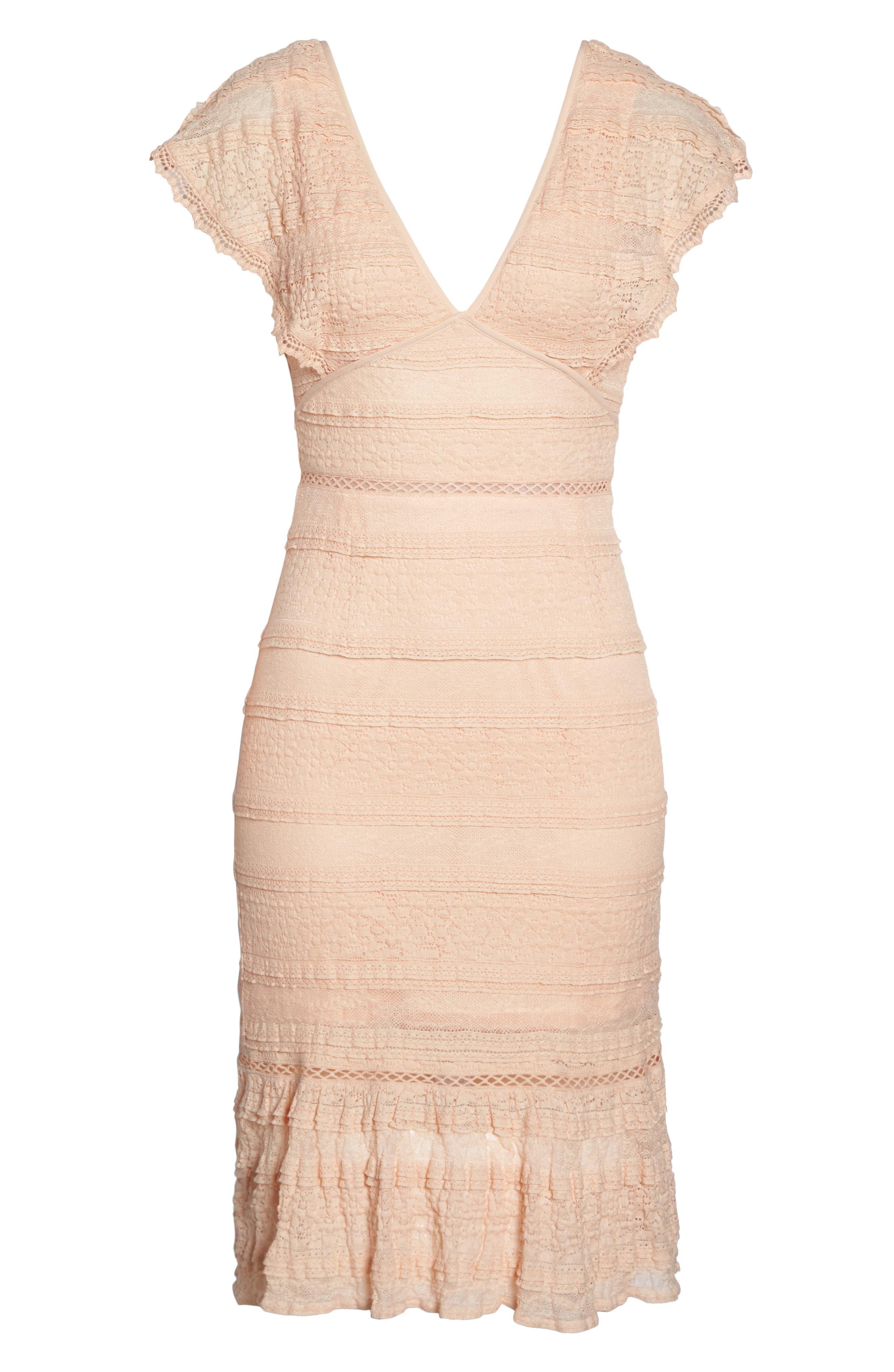 Makayla Flutter Trim Lace Sheath Dress,                             Alternate thumbnail 6, color,