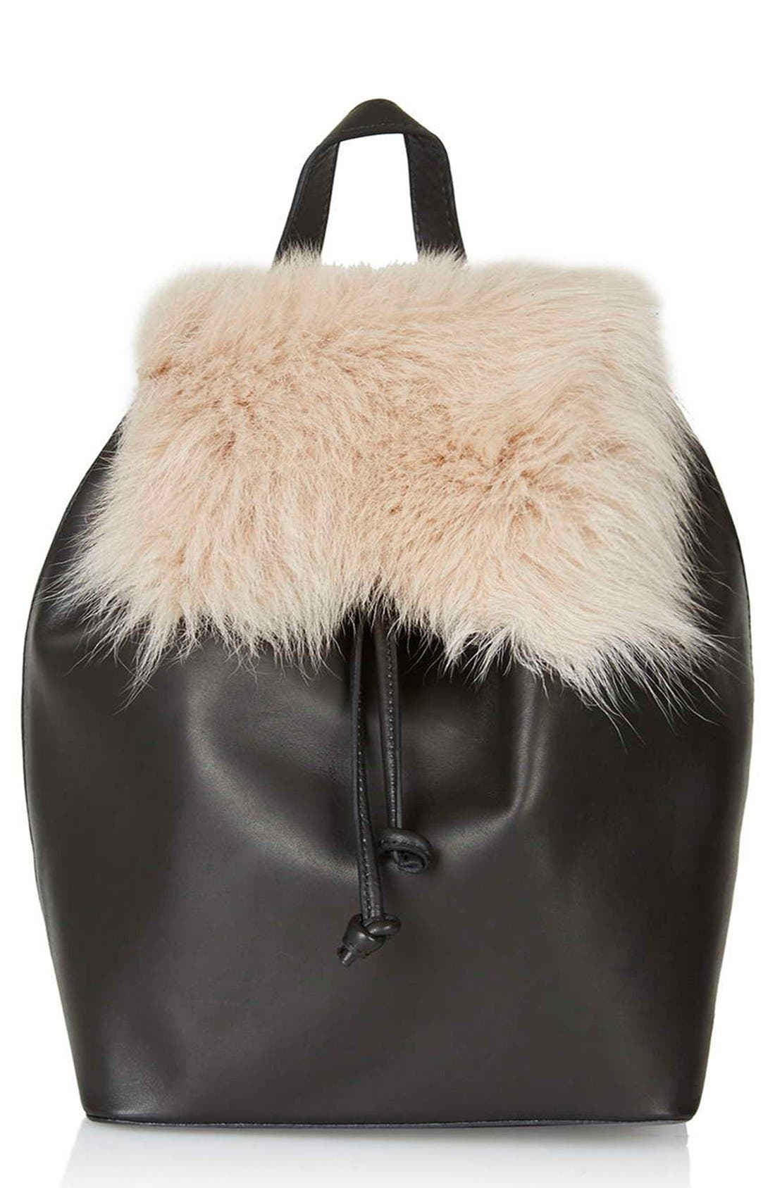 Shearling & Leather Backpack,                         Main,                         color, 250