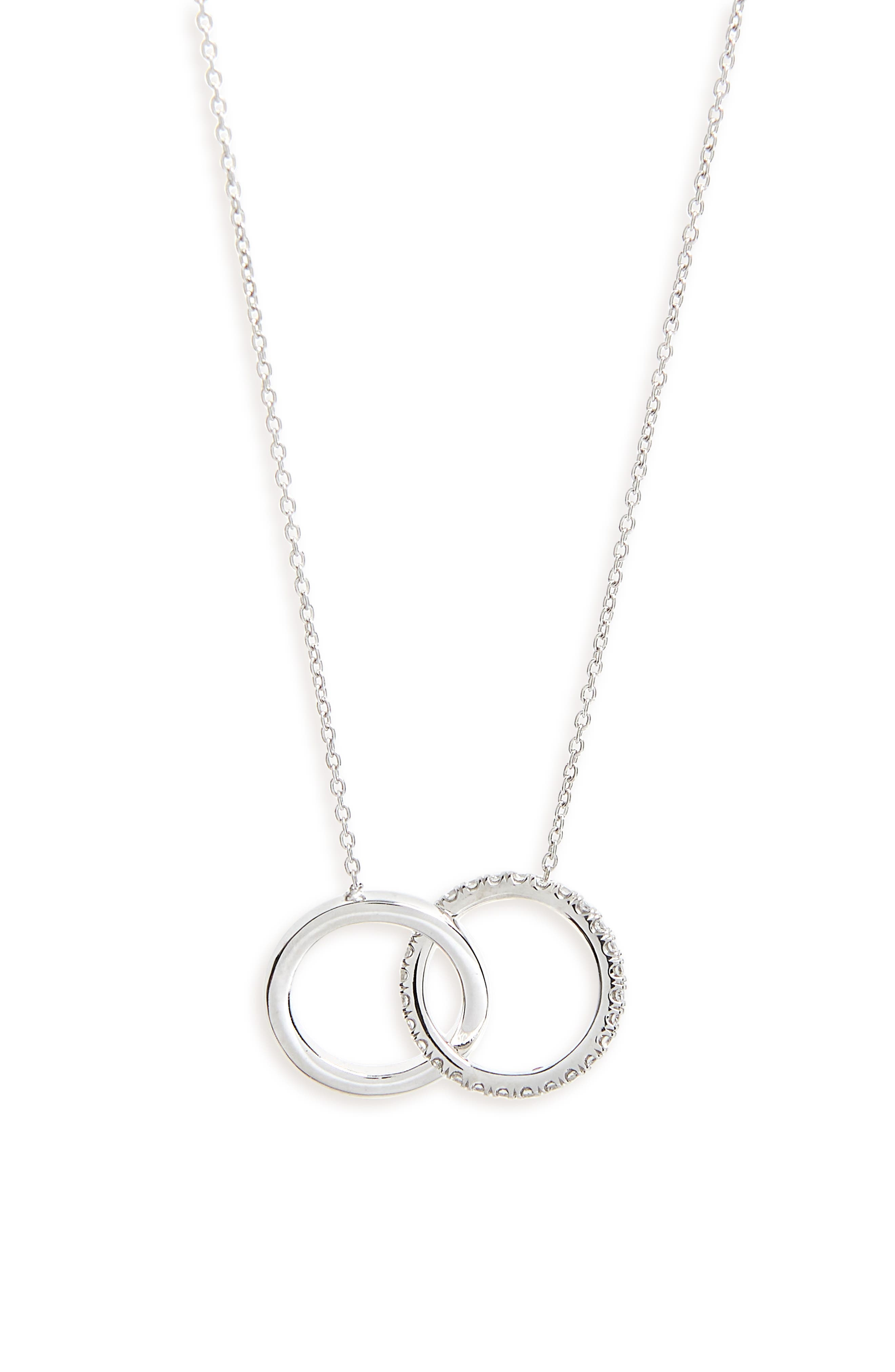 Diamond Double Circle Pendant Necklace,                             Main thumbnail 1, color,                             WHITE GOLD