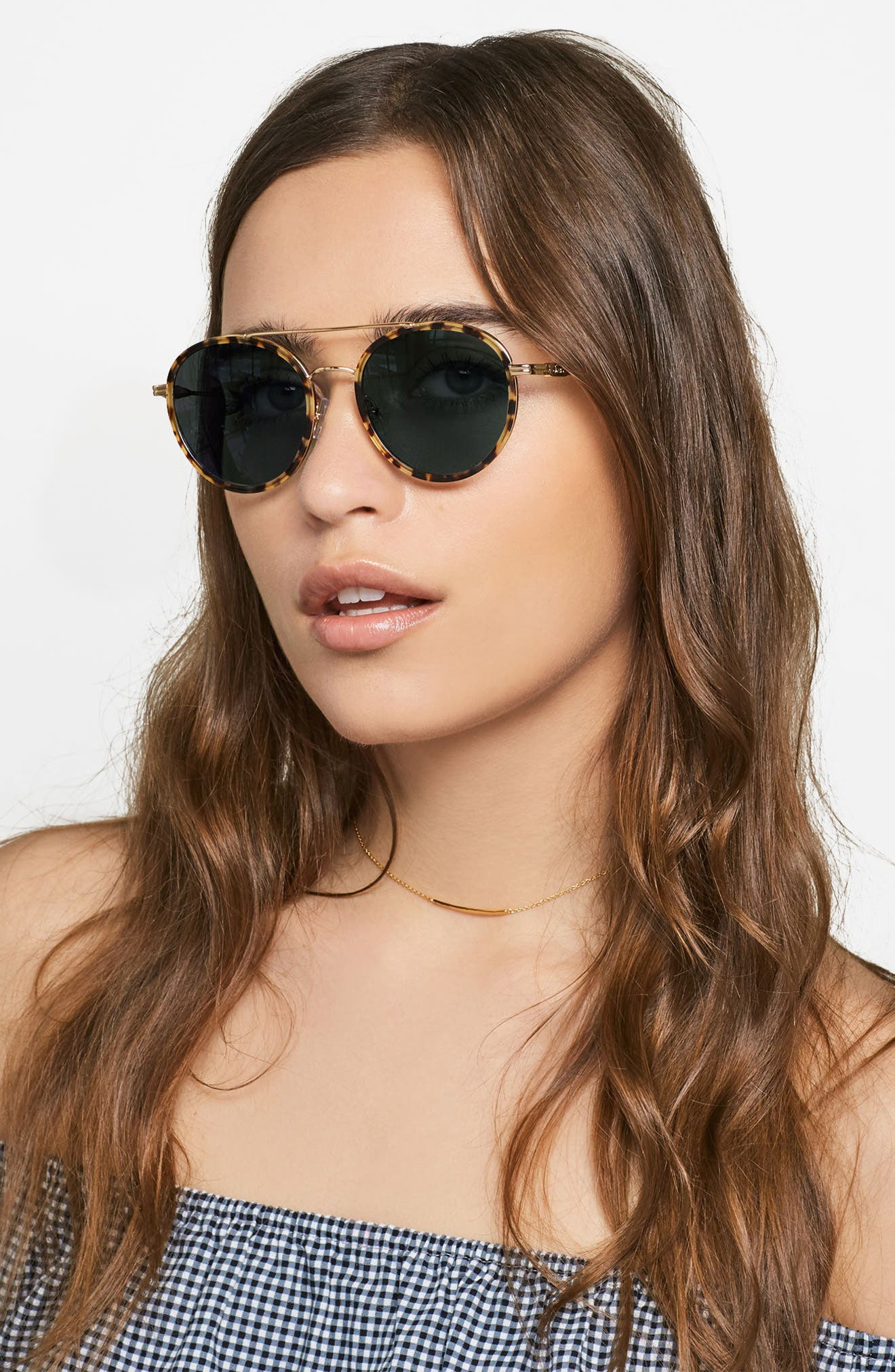 Charli 50mm Mirrored Lens Round Sunglasses,                             Alternate thumbnail 3, color,                             200
