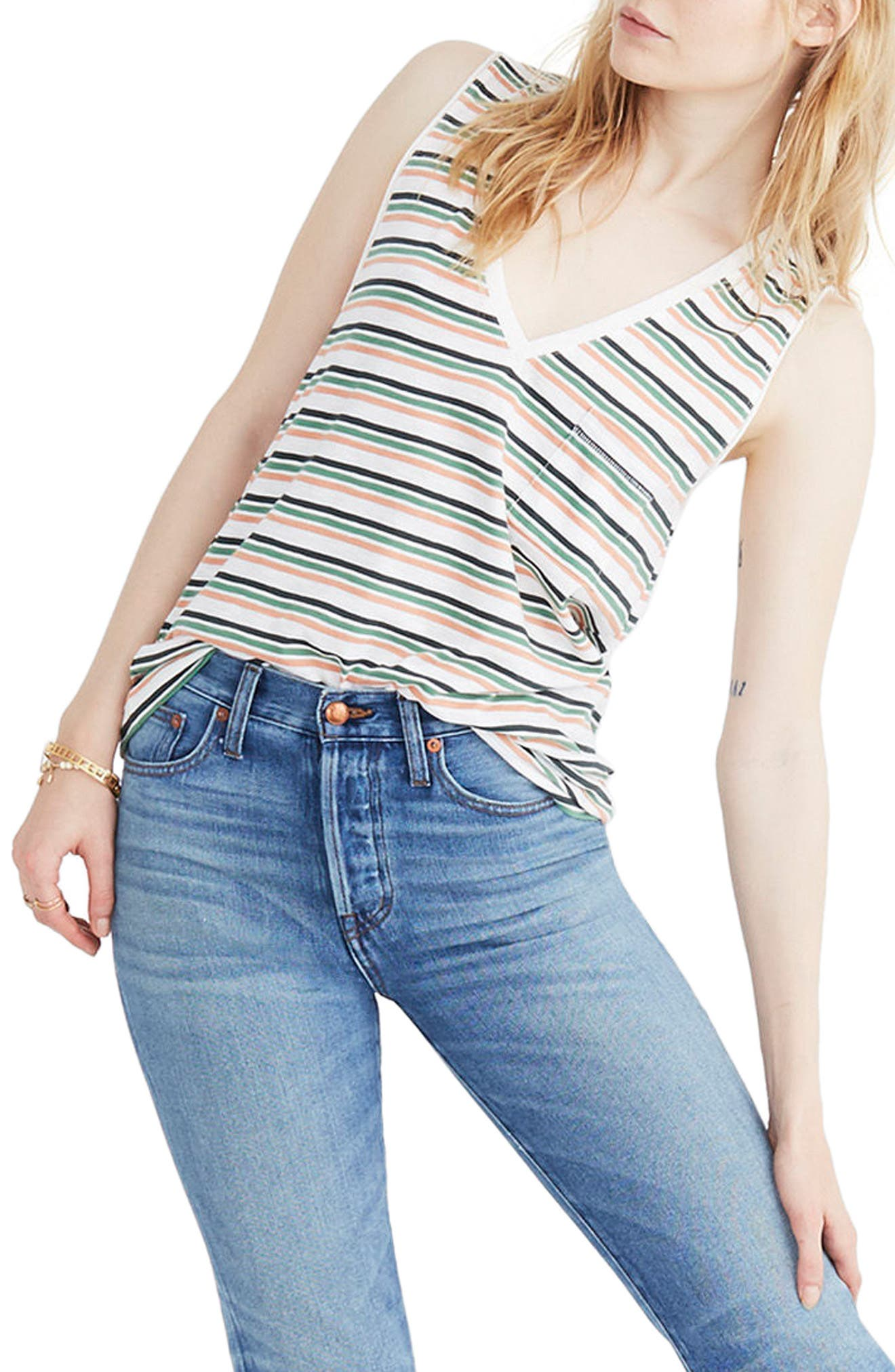 Whisper Cotton Stripe V-Neck Pocket Tank,                         Main,                         color, 100