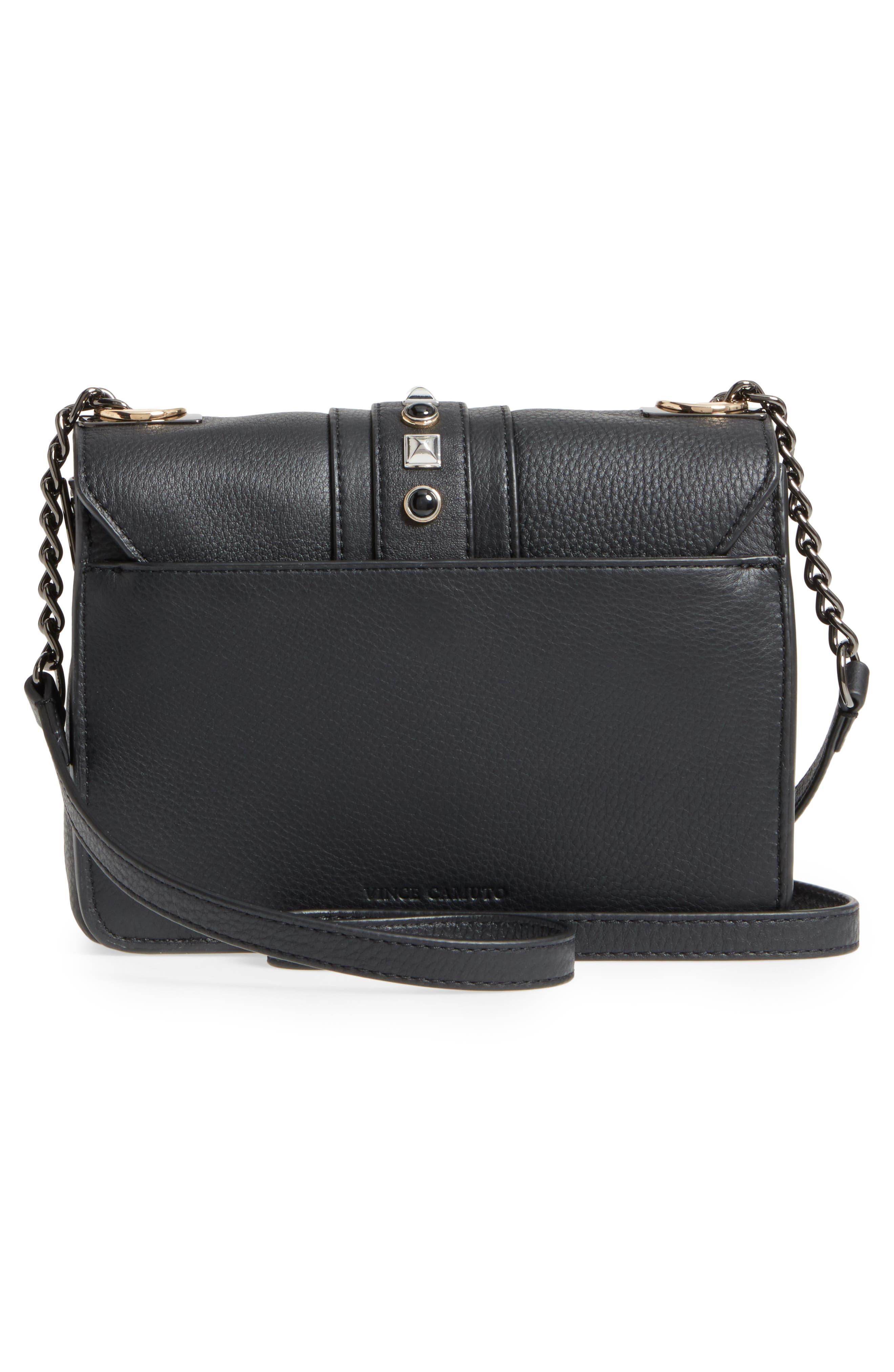Bitty Studded Leather Shoulder Bag,                             Alternate thumbnail 3, color,                             002