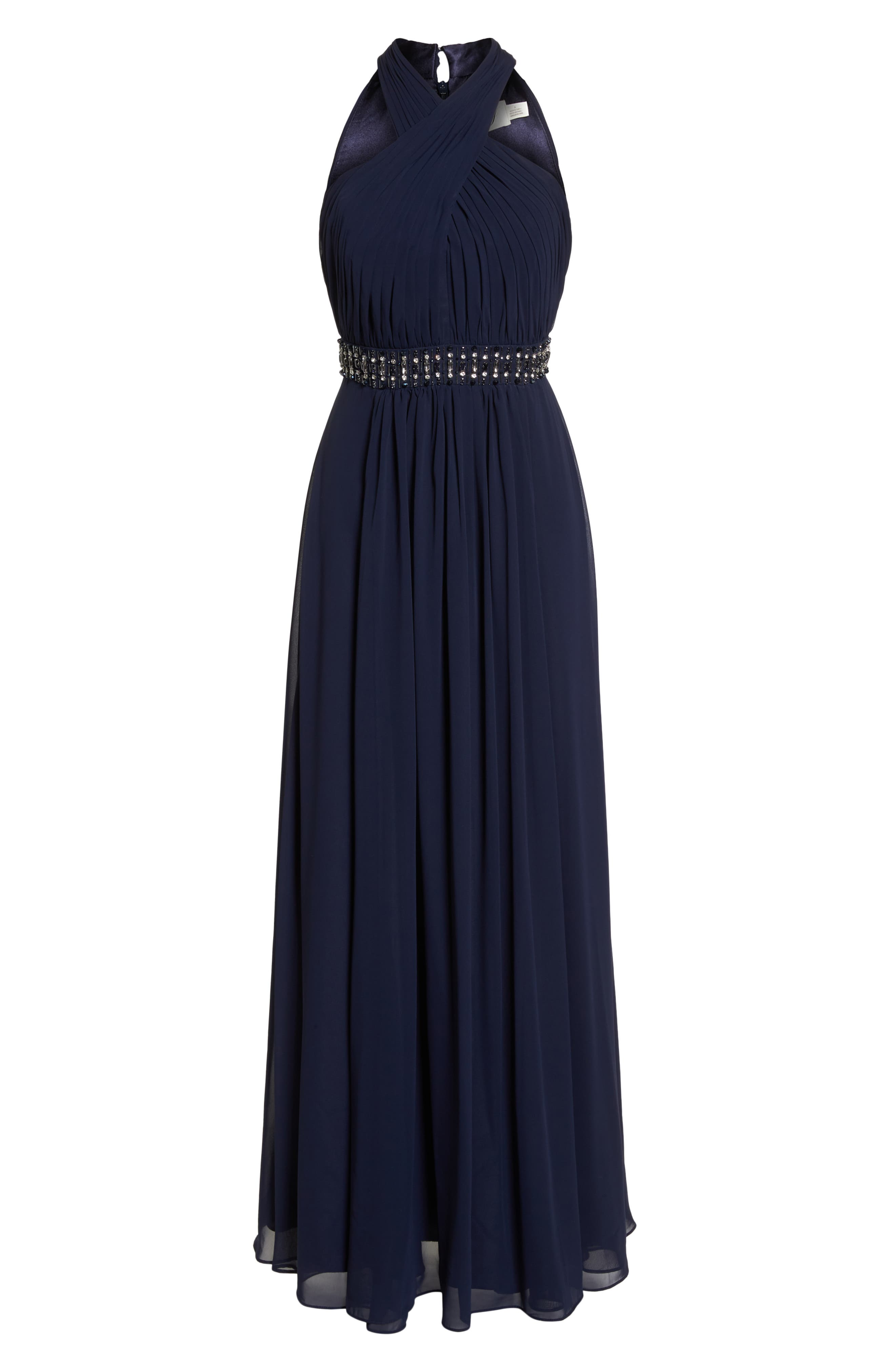 Halter Pleated Cross Neck Gown,                             Alternate thumbnail 7, color,                             410
