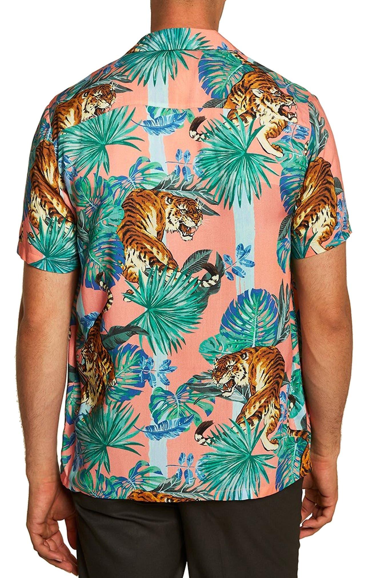 Tiger Print Shirt,                             Alternate thumbnail 3, color,                             PINK MULTI