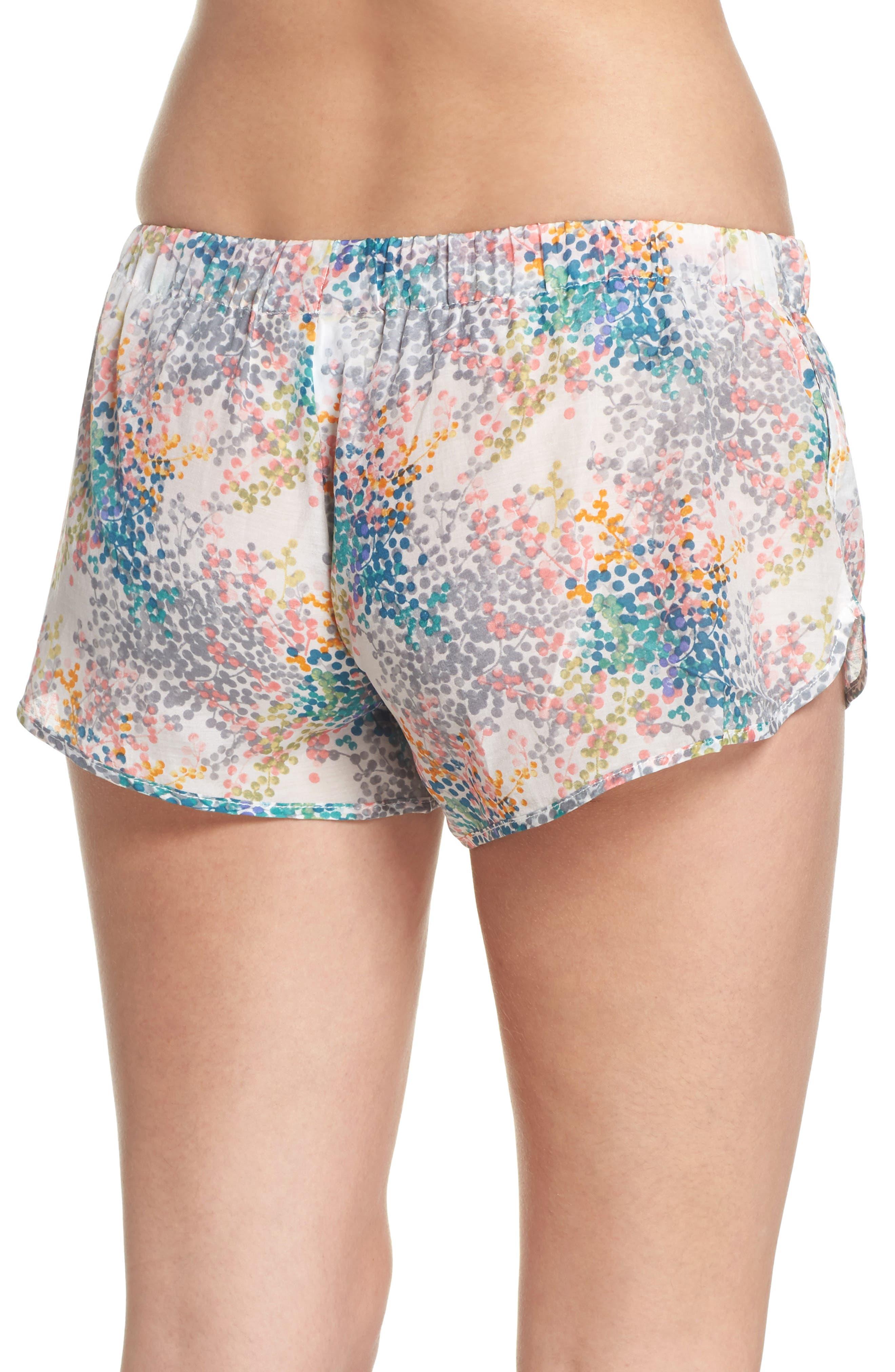 Bouquet Pajama Shorts,                             Alternate thumbnail 2, color,                             BLUE GREEN