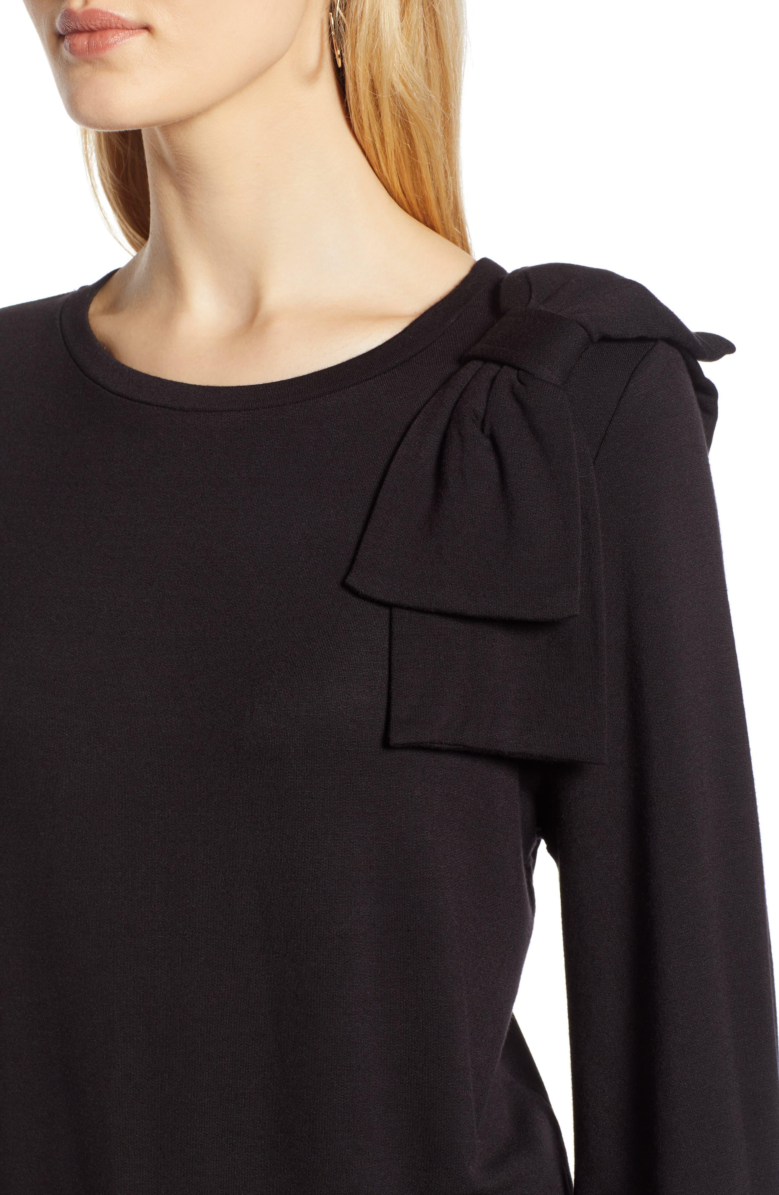Bow Trim Sweatshirt,                             Alternate thumbnail 4, color,                             001