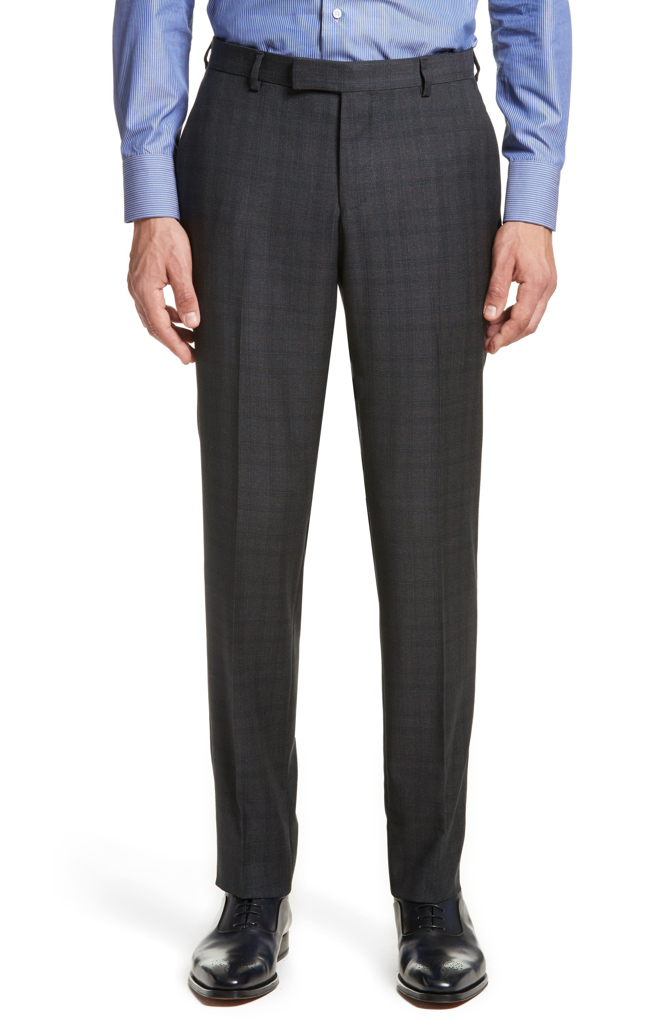 Classic Fit Plaid Wool Suit,                             Alternate thumbnail 6, color,                             026