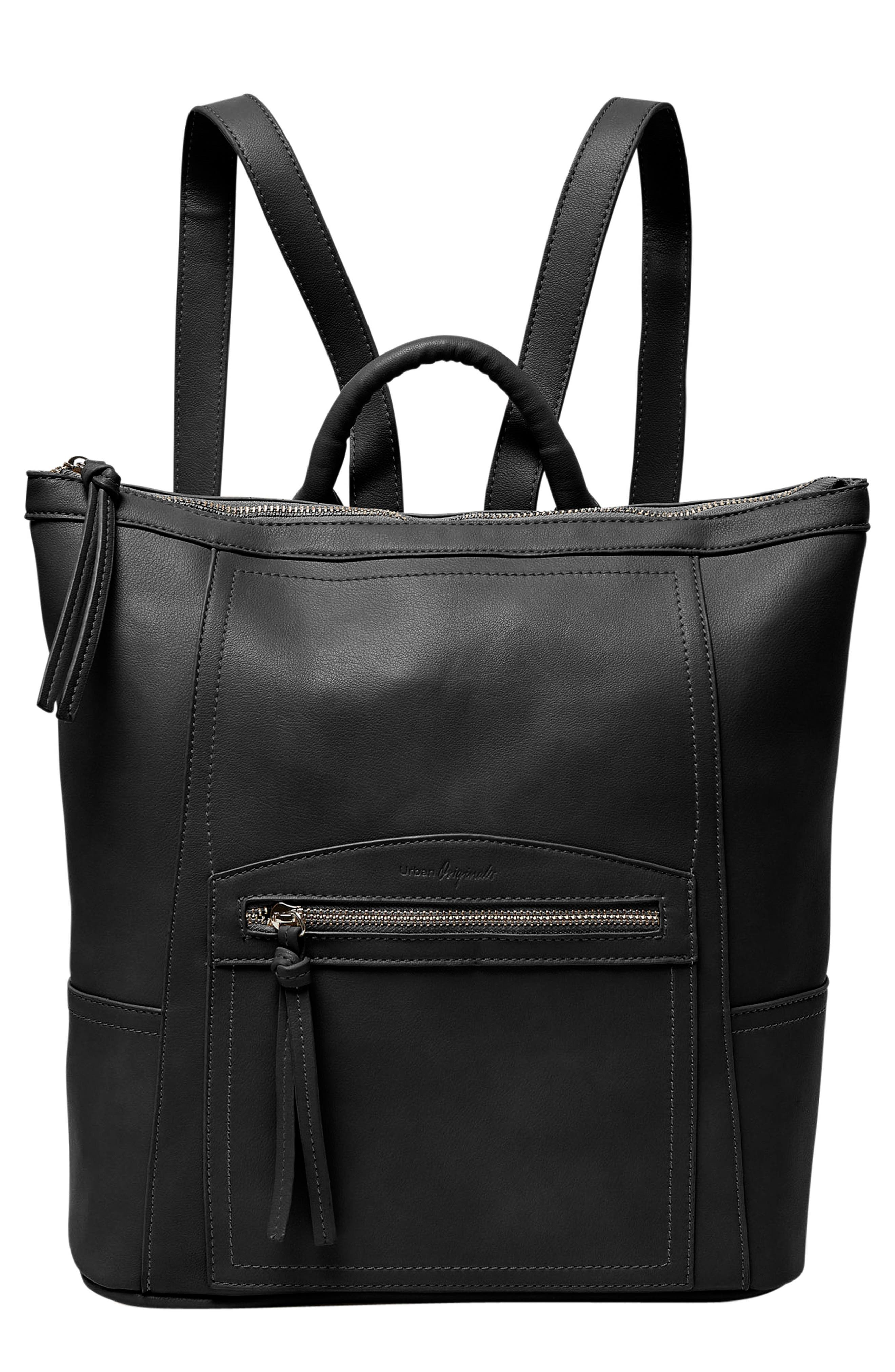 Eternity Vegan Leather Backpack,                             Main thumbnail 1, color,                             BLACK