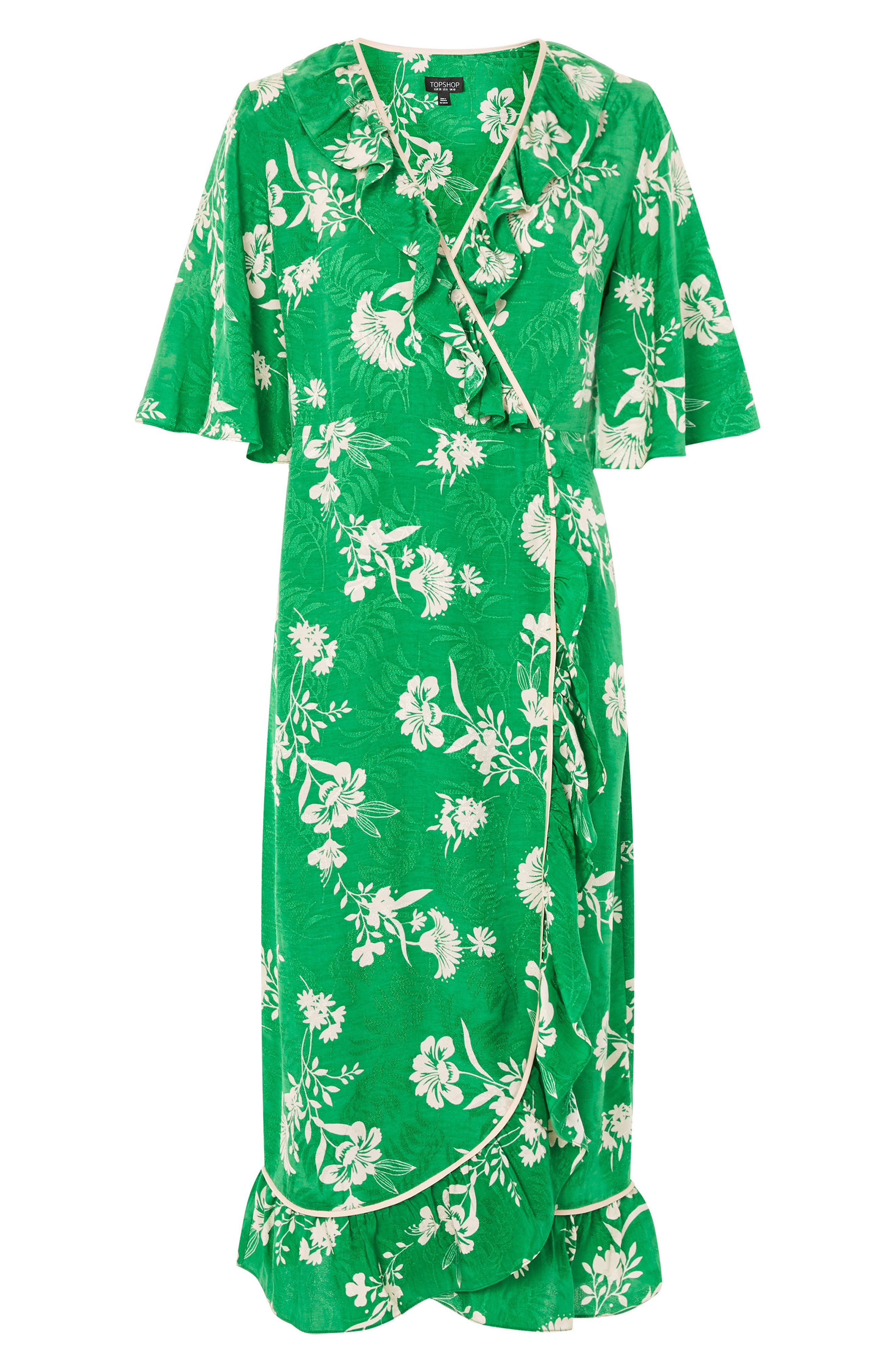 Leaf Print Ruffle Wrap Dress,                             Alternate thumbnail 3, color,                             300