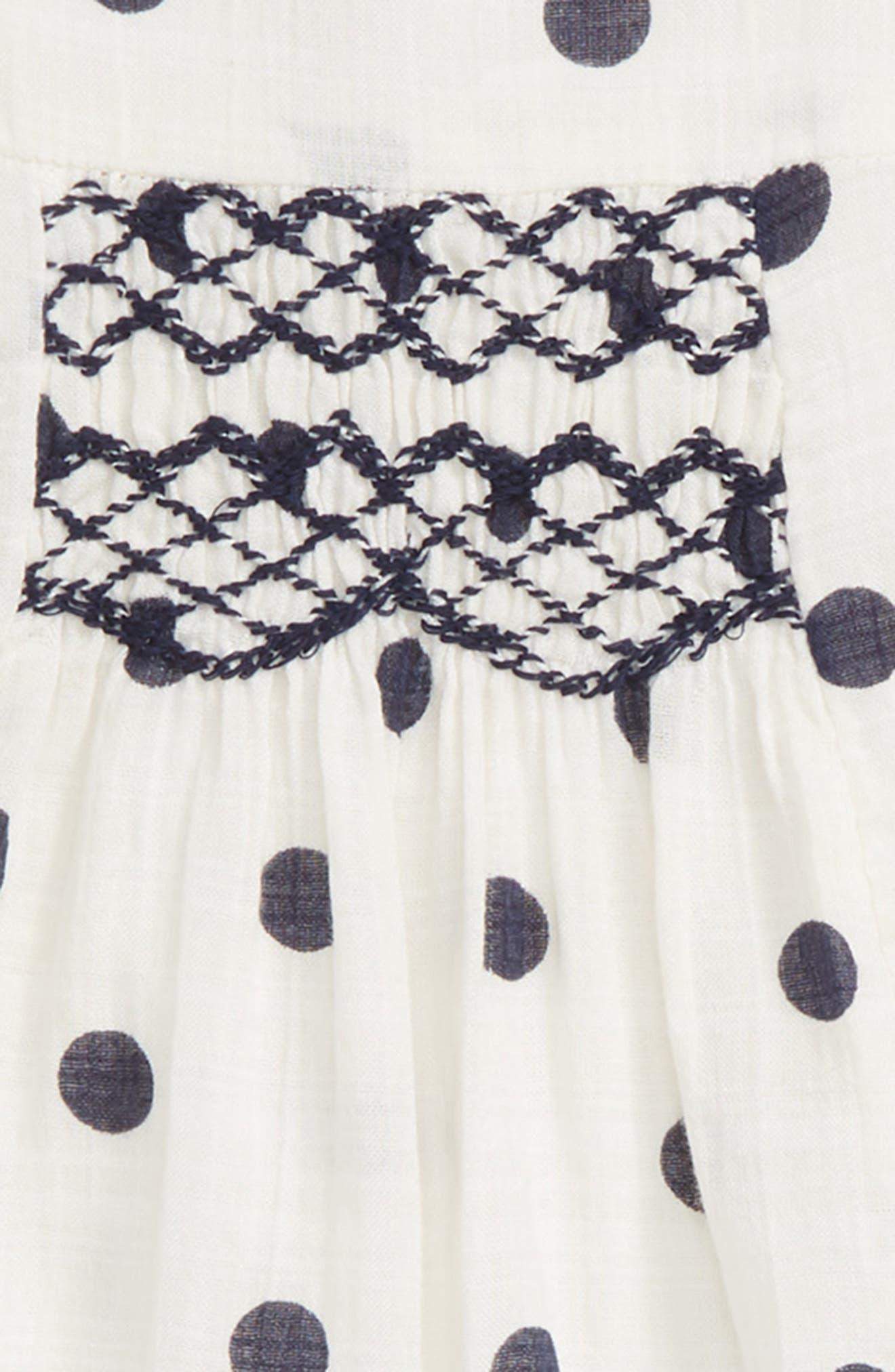 Embroidered Dot Dress,                             Alternate thumbnail 2, color,                             IVORY EGRET- NAVY DOT