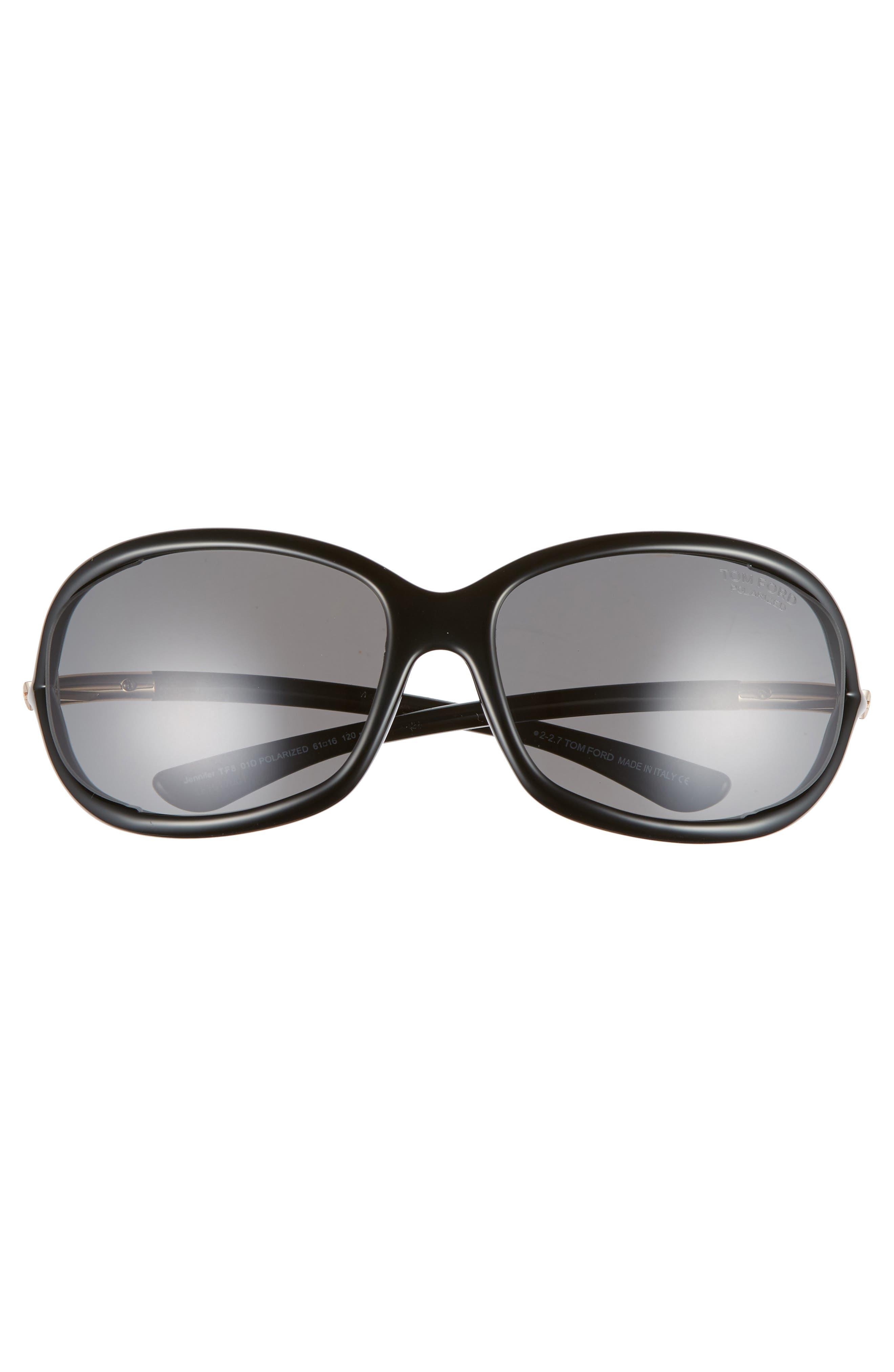 Jennifer 61mm Polarized Open Temple Sunglasses,                             Alternate thumbnail 3, color,                             SHINY BLACK/ GREY POLARIZED