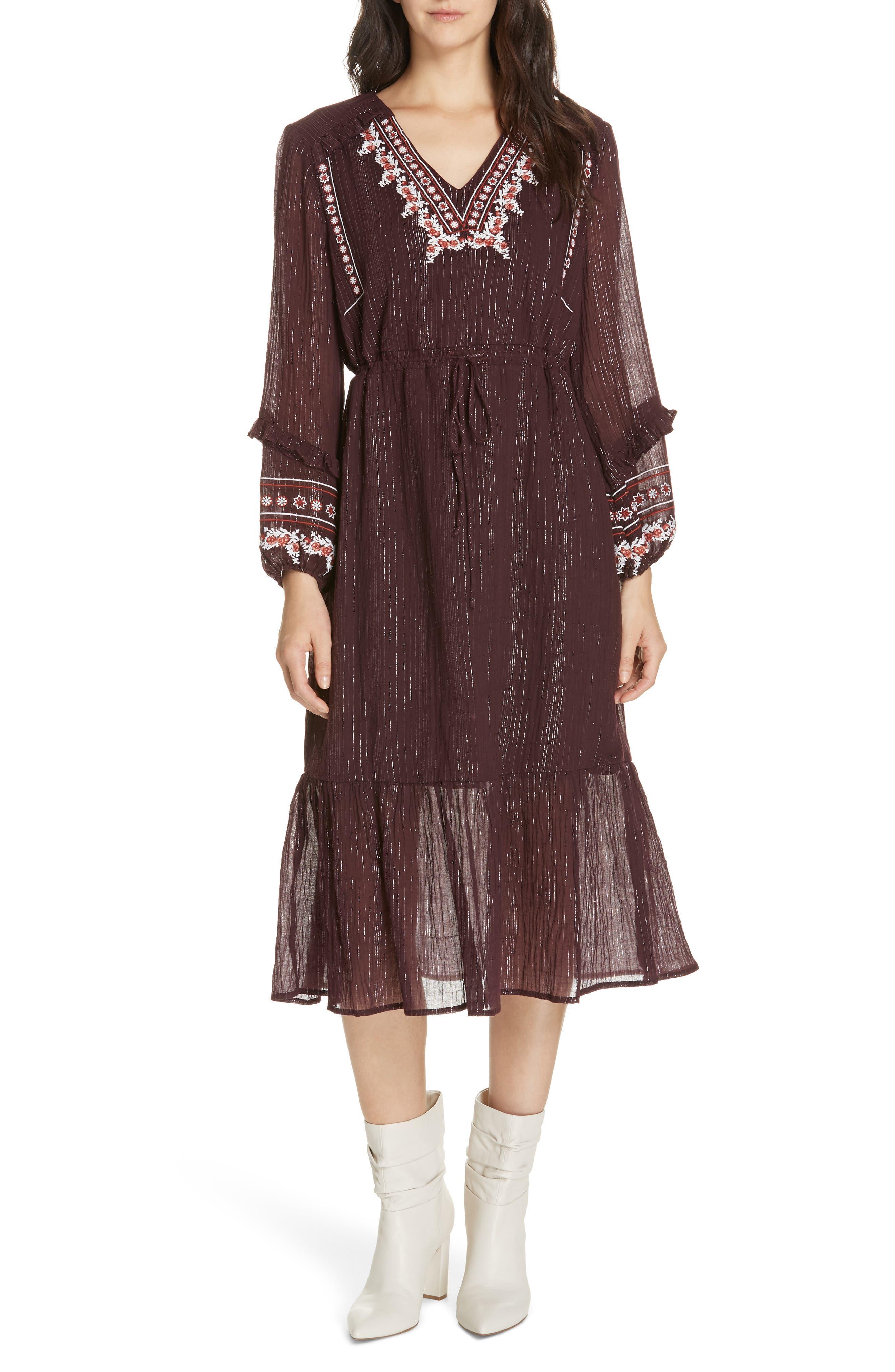 Rashida Embroidered Midi Dress, Main, color, MULBERRY