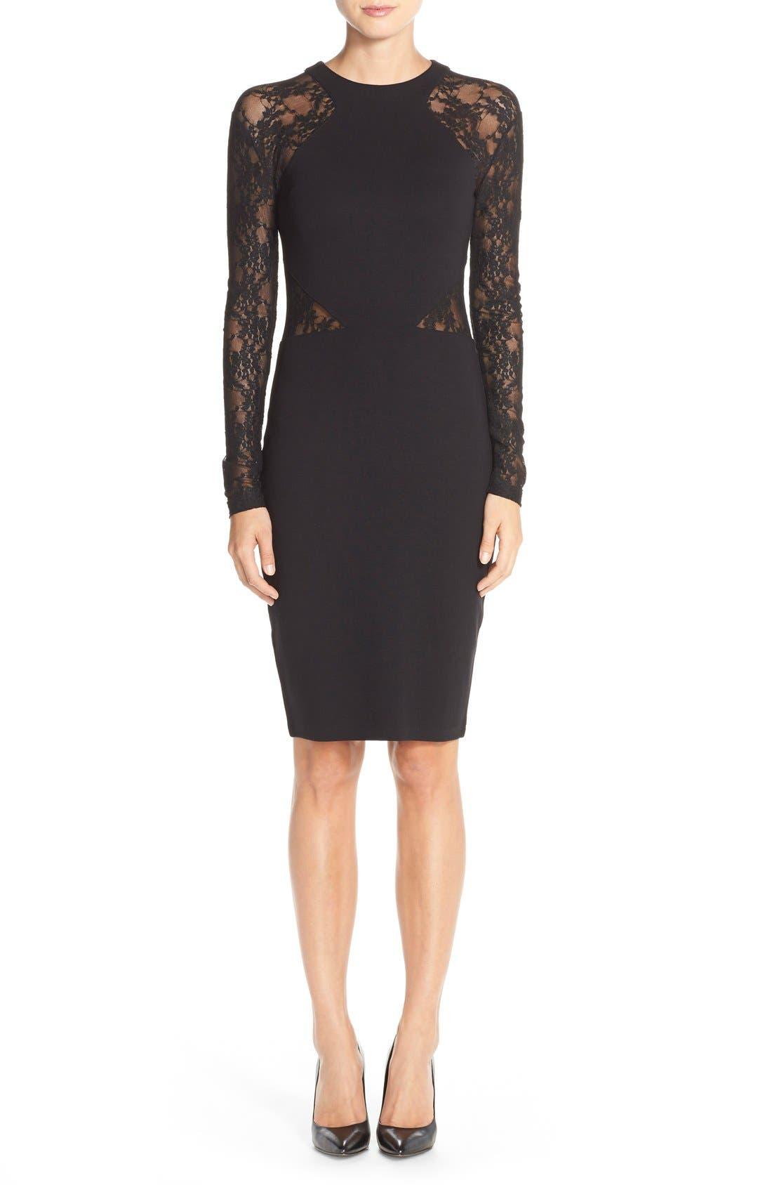 'Viven' Lace & Jersey Sheath Dress,                             Alternate thumbnail 5, color,                             001