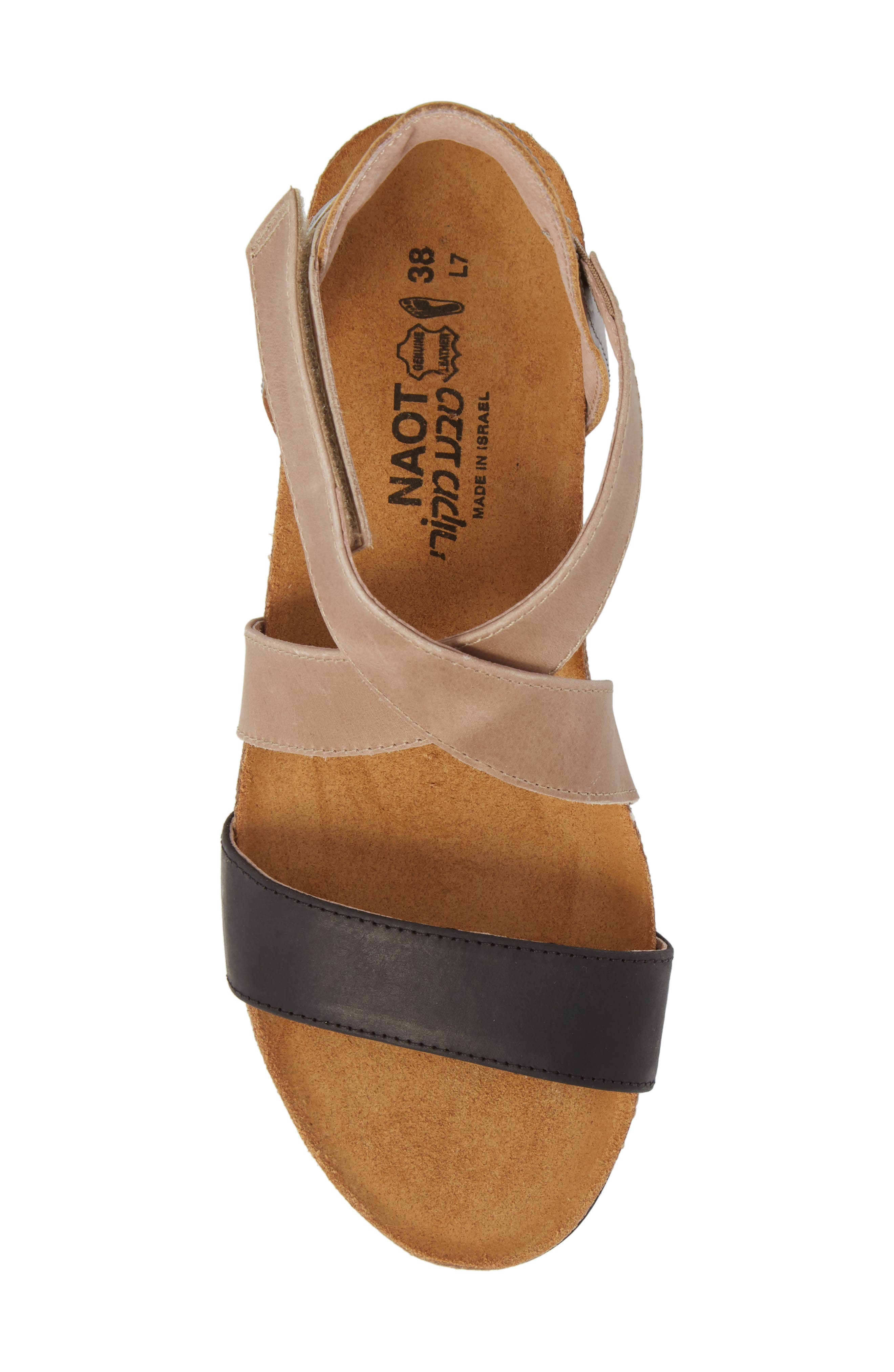 NAOT,                             Vixen Wedge Sandal,                             Alternate thumbnail 5, color,                             OILY COAL LEATHER