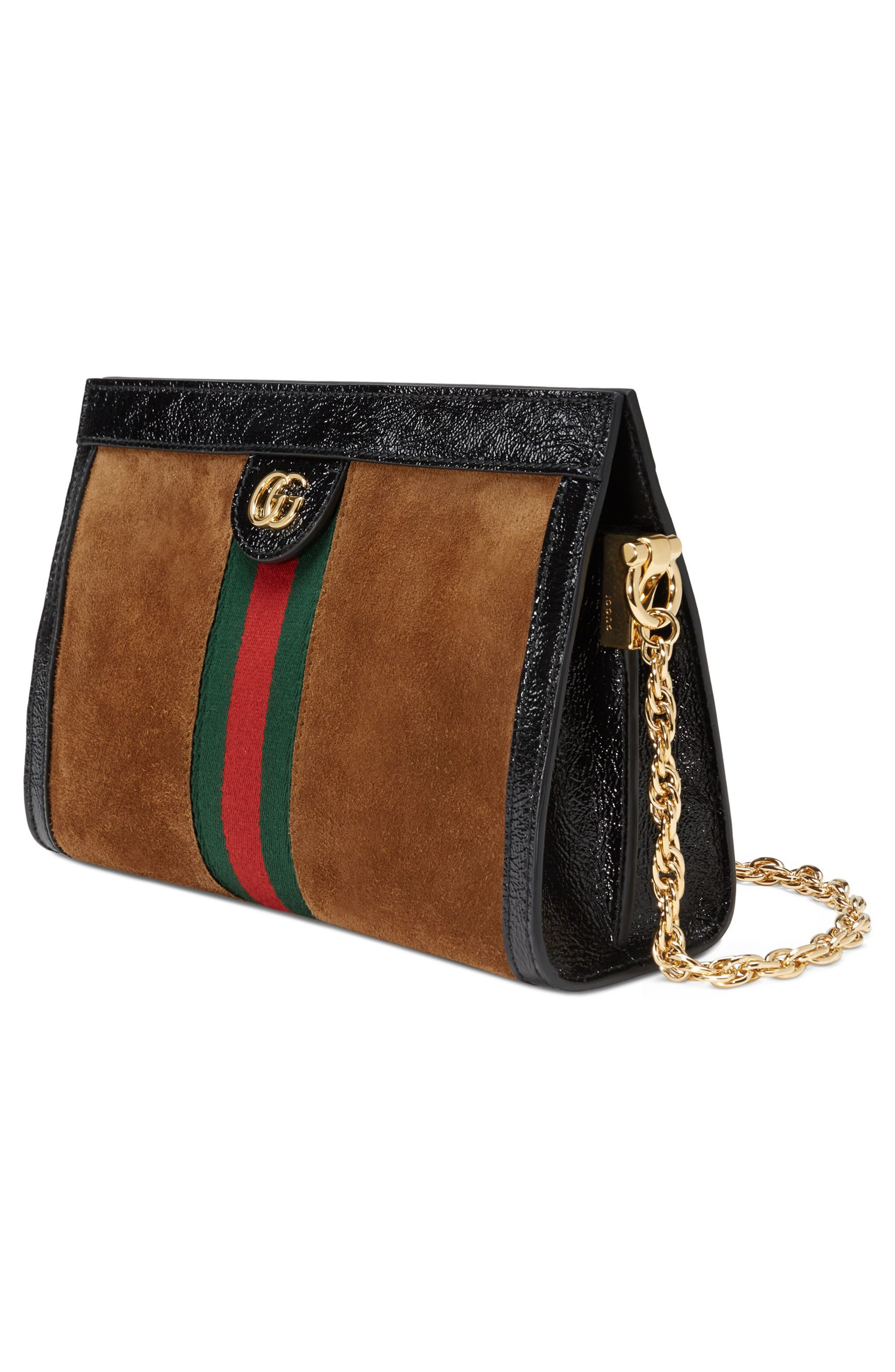 Small Linea Chain Shoulder Bag,                             Alternate thumbnail 4, color,                             NOCCIOLA/ NERO/ VERT RED VERT