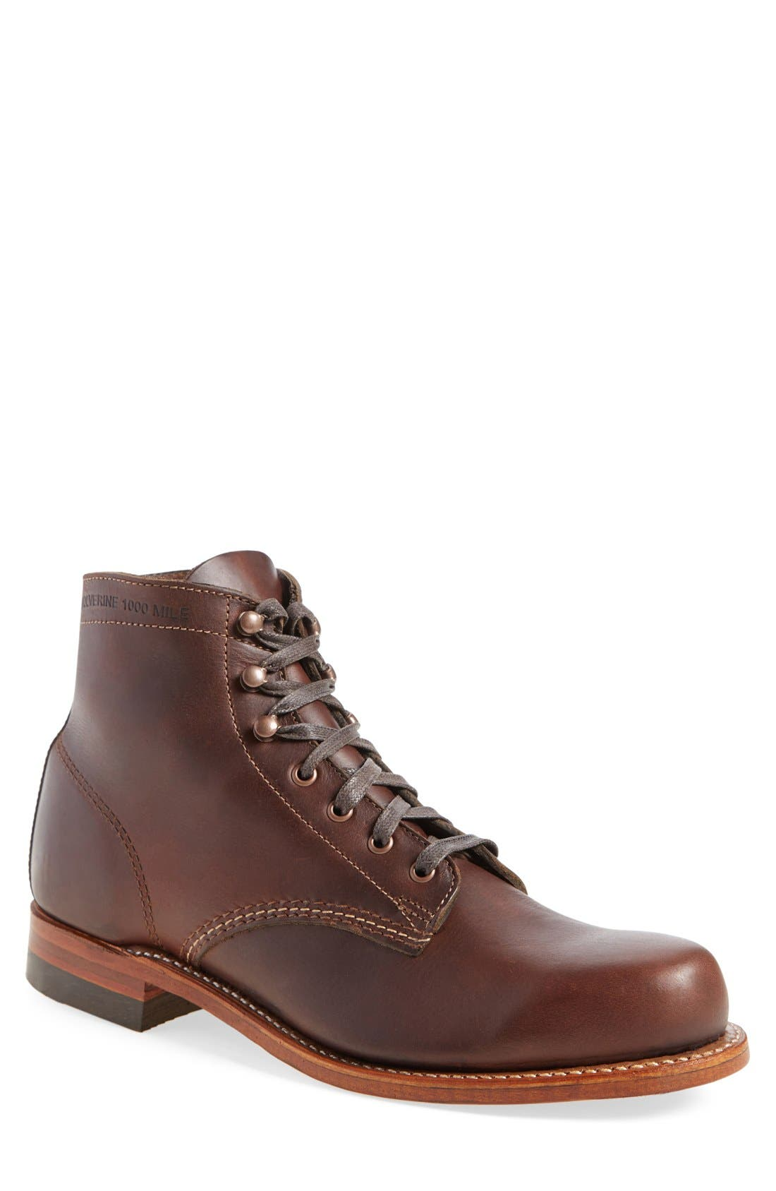 WOLVERINE '1000 Mile' Plain Toe Boot in Brown