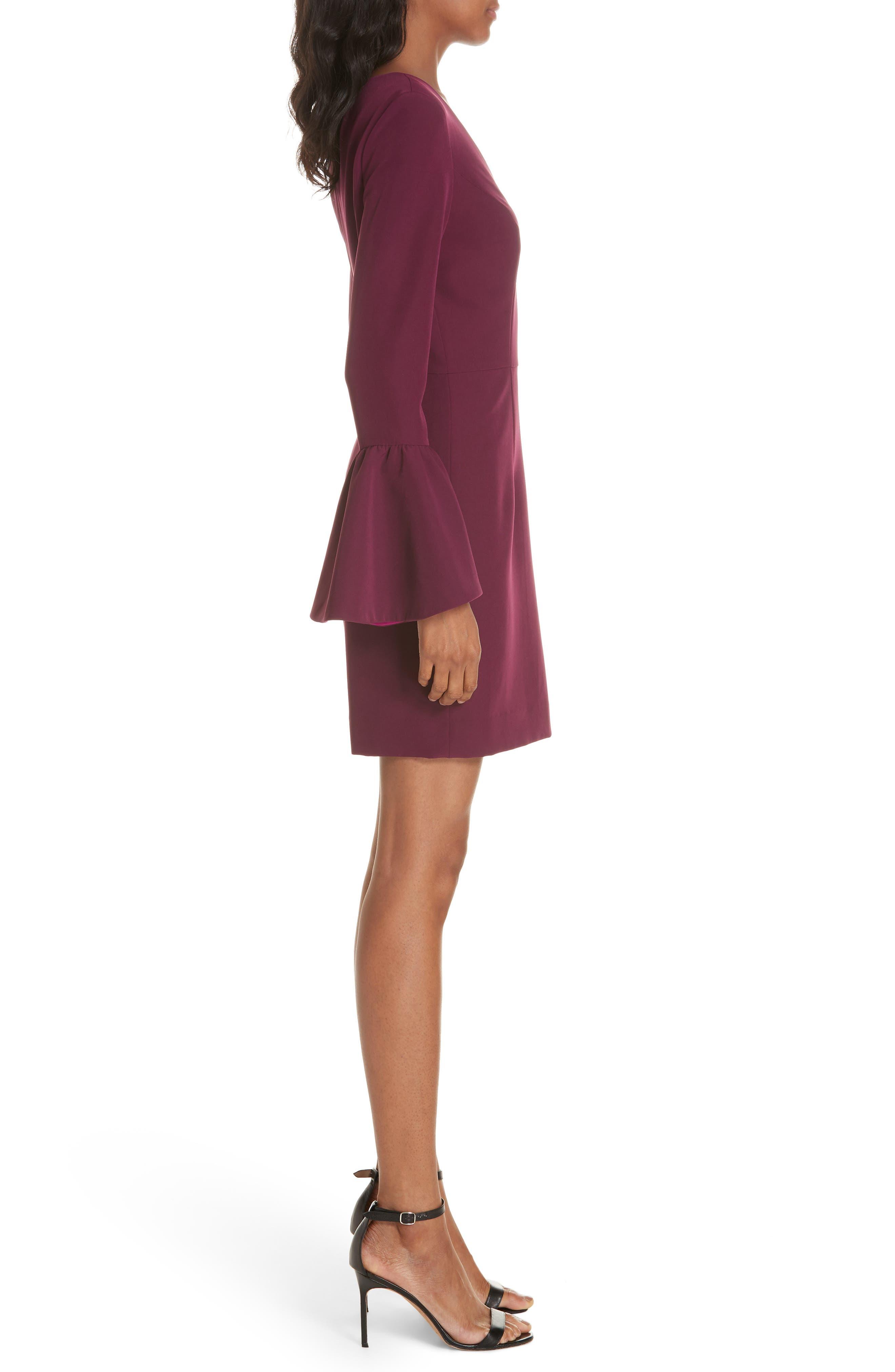Morgan Italian Cady Bell Sleeve Mini Dress,                             Alternate thumbnail 3, color,                             500