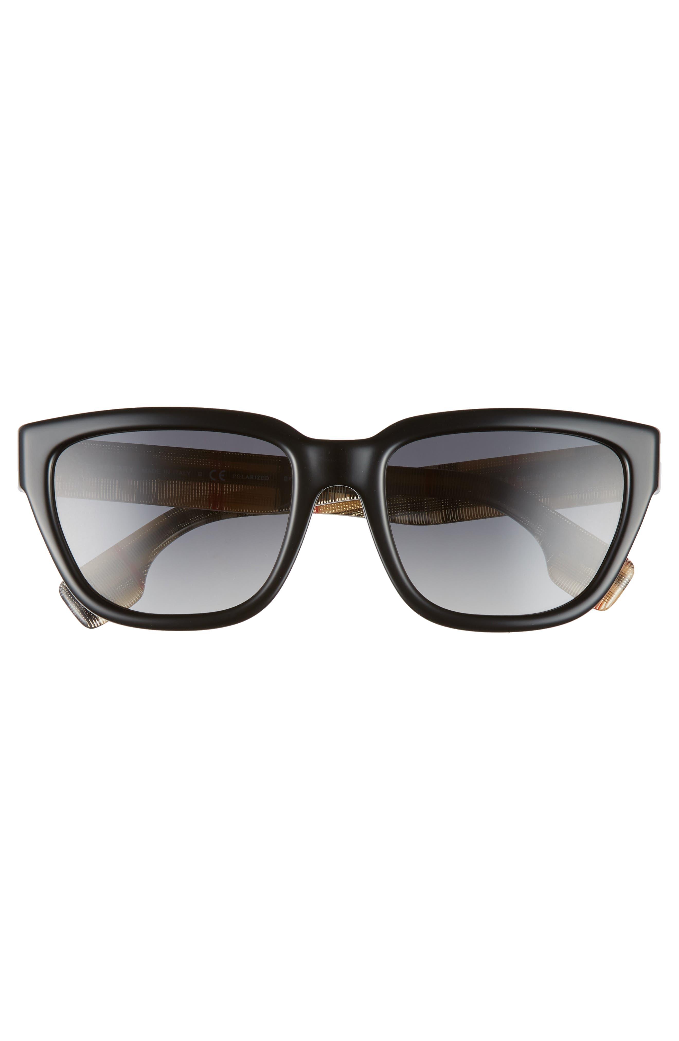 54mm Polarized Gradient Square Sunglasses,                             Alternate thumbnail 3, color,                             BLACK/ BLACK GRADIENT