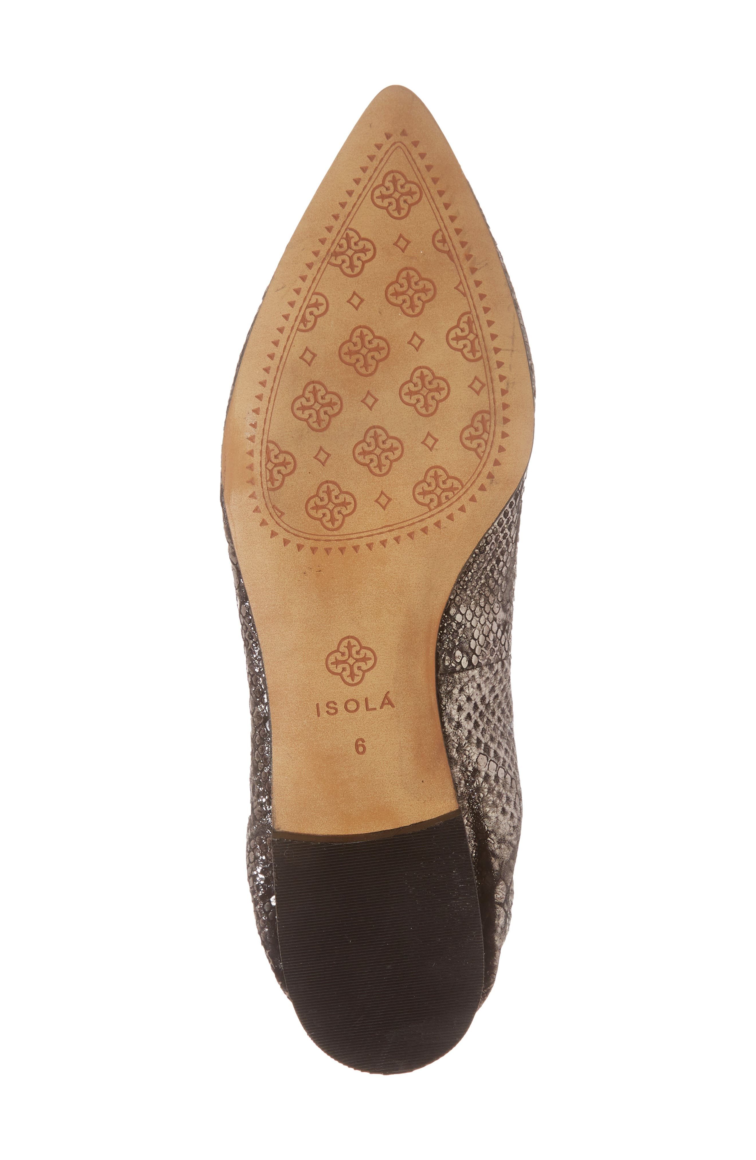 Isola Padra Pointy Toe Flat,                             Alternate thumbnail 6, color,                             PEWTER LEATHER