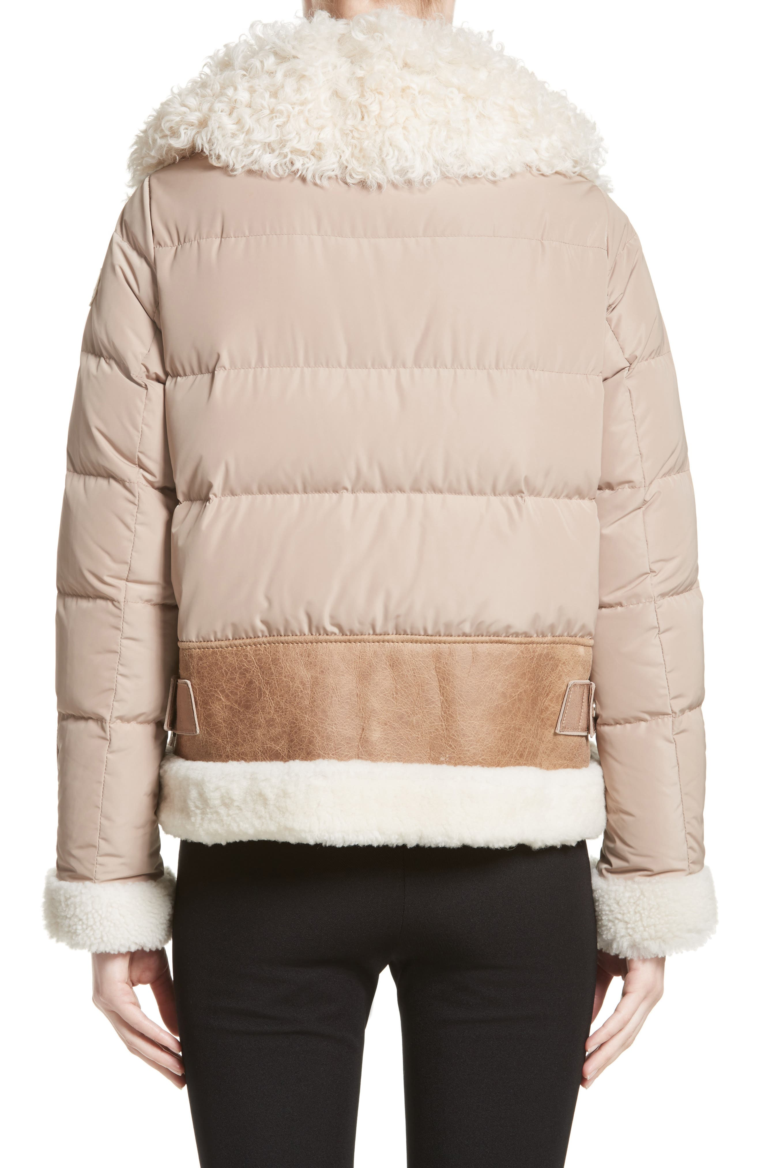 Kilia Genuine Shearling & Down Puffer Jacket,                             Alternate thumbnail 3, color,                             CAMEL
