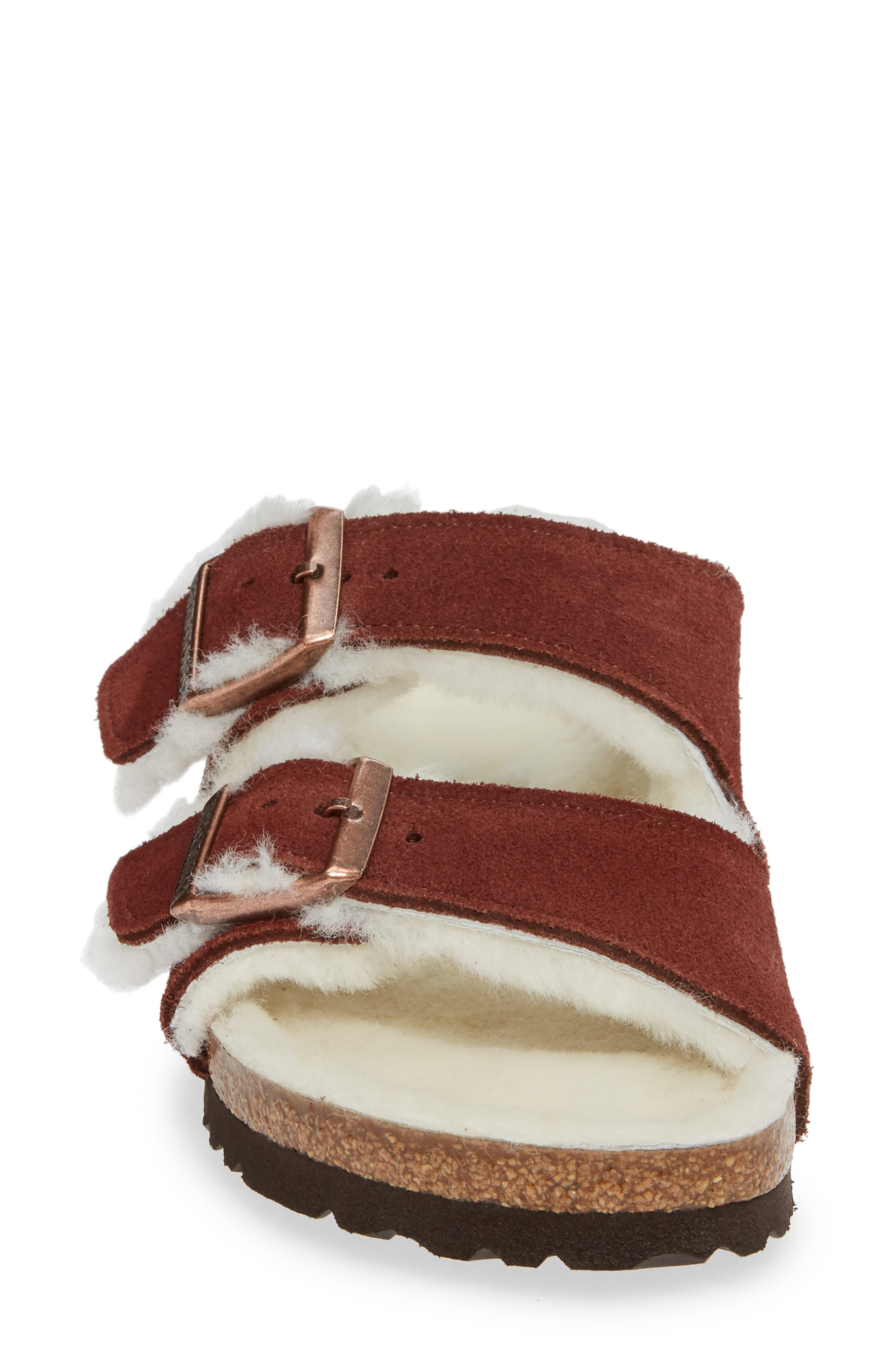 'Arizona' Genuine Shearling Lined Sandal,                             Alternate thumbnail 4, color,                             PORT SUEDE