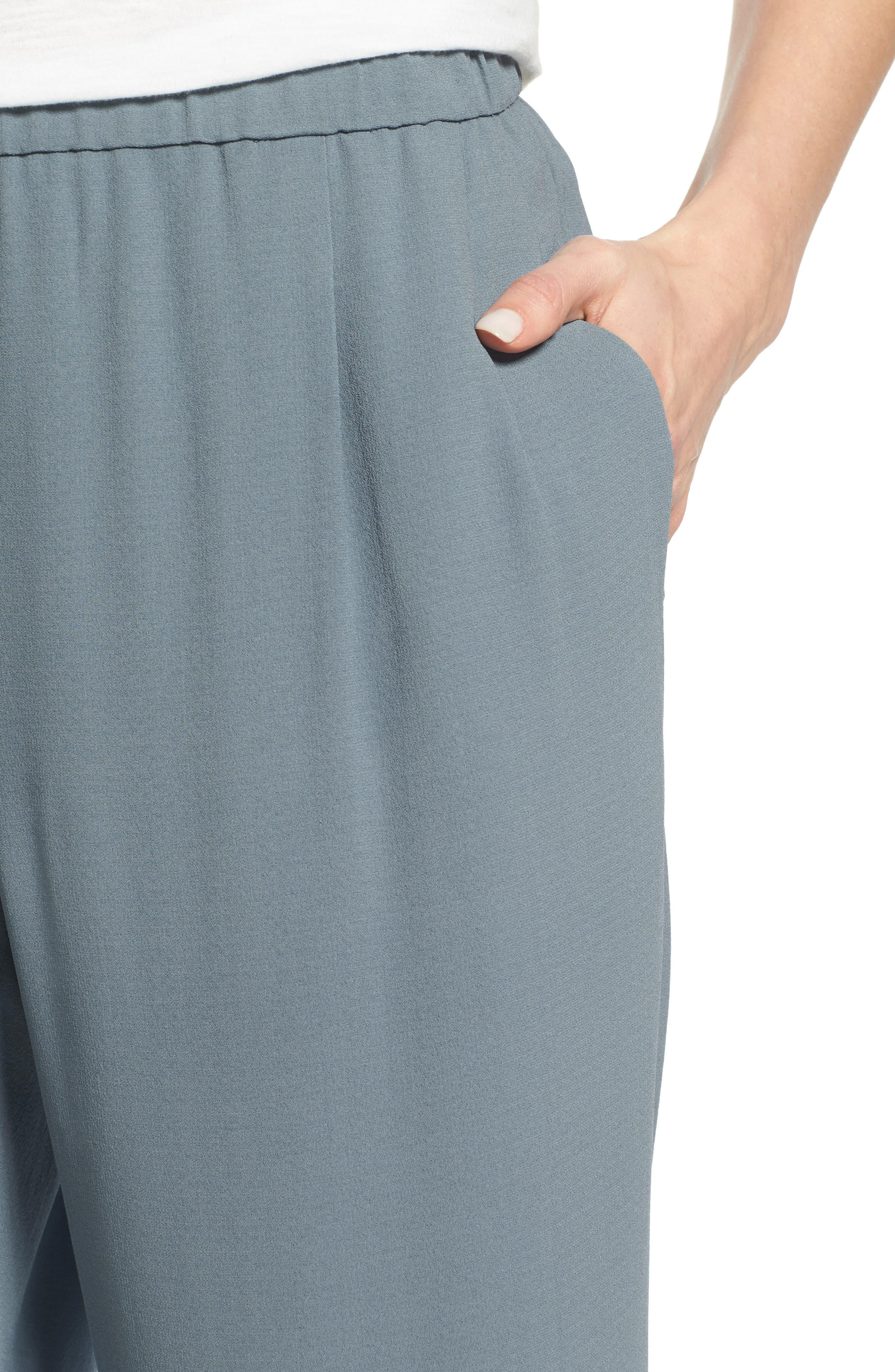 Silk Georgette Crepe Straight Ankle Pants,                             Alternate thumbnail 23, color,