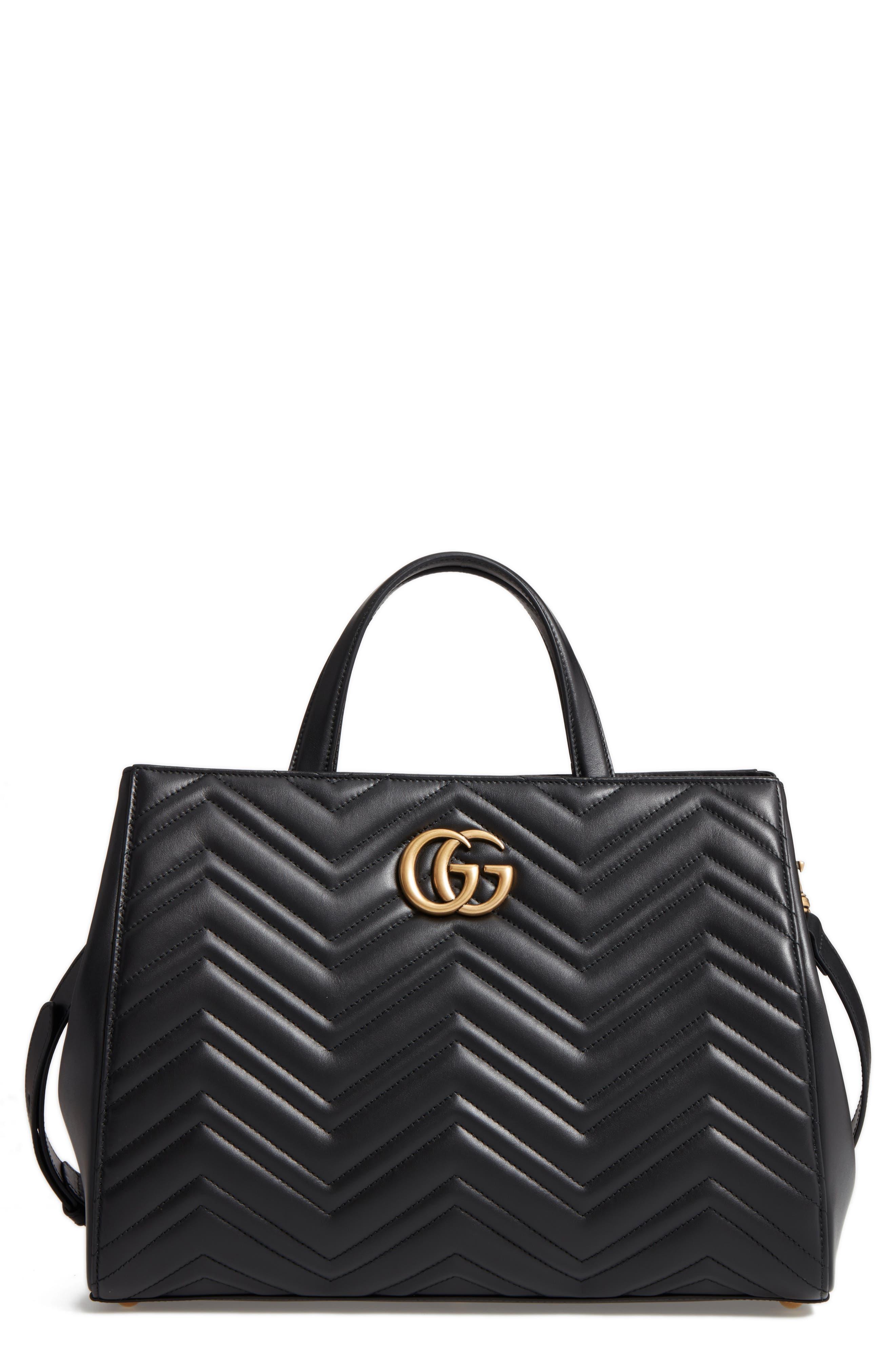 GG Marmont Medium Matelassé Leather Top Handle Shoulder Bag,                             Main thumbnail 1, color,                             005