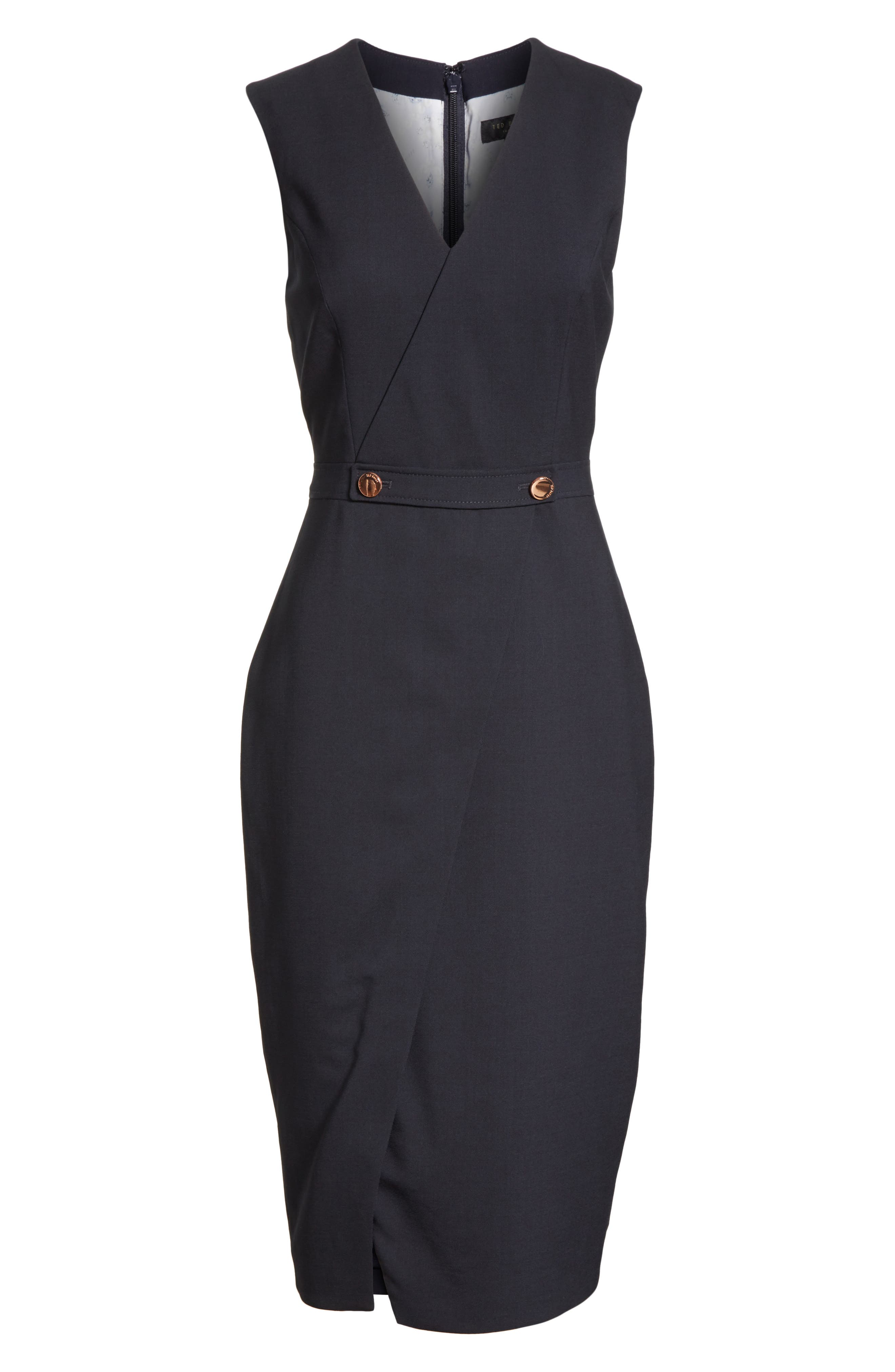 Ted Working Title Faux Wrap Dress,                             Alternate thumbnail 6, color,                             NAVY