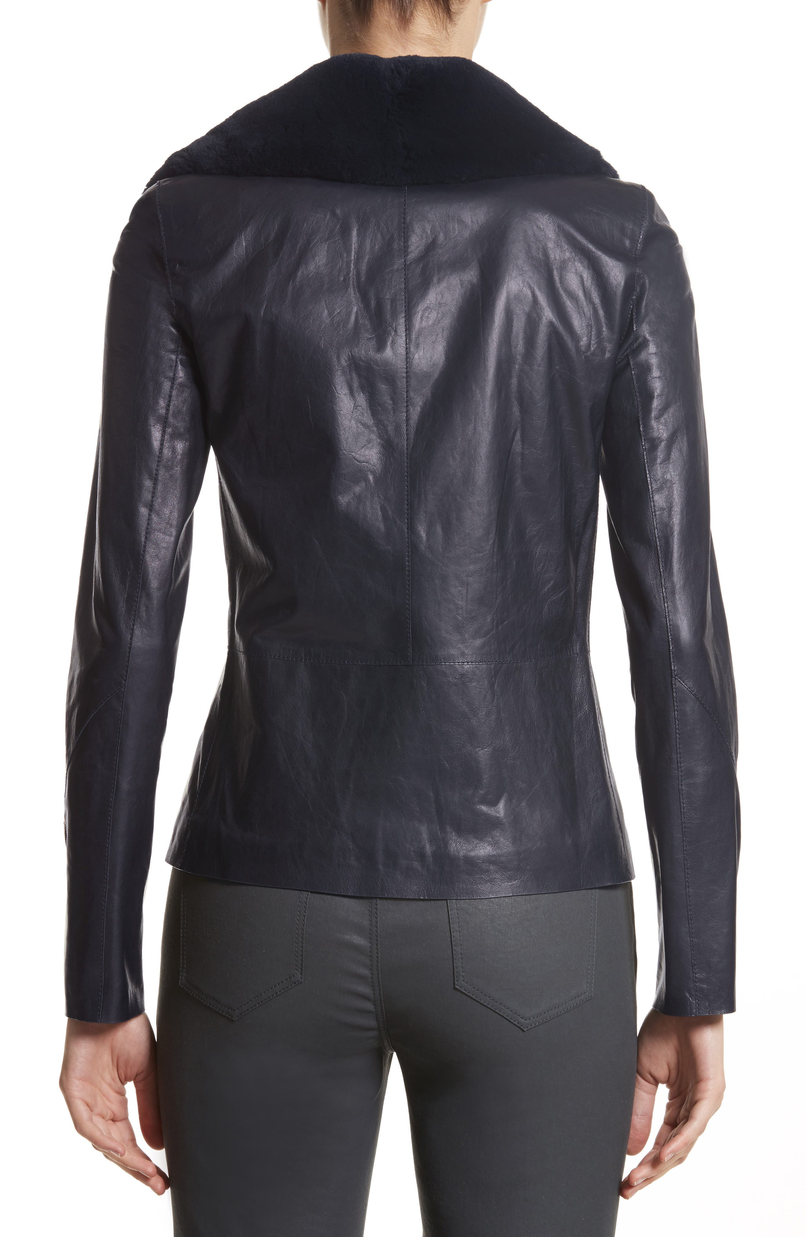 Kimbry Leather Jacket with Removable Genuine Rex Rabbit Fur Collar,                             Alternate thumbnail 2, color,                             479