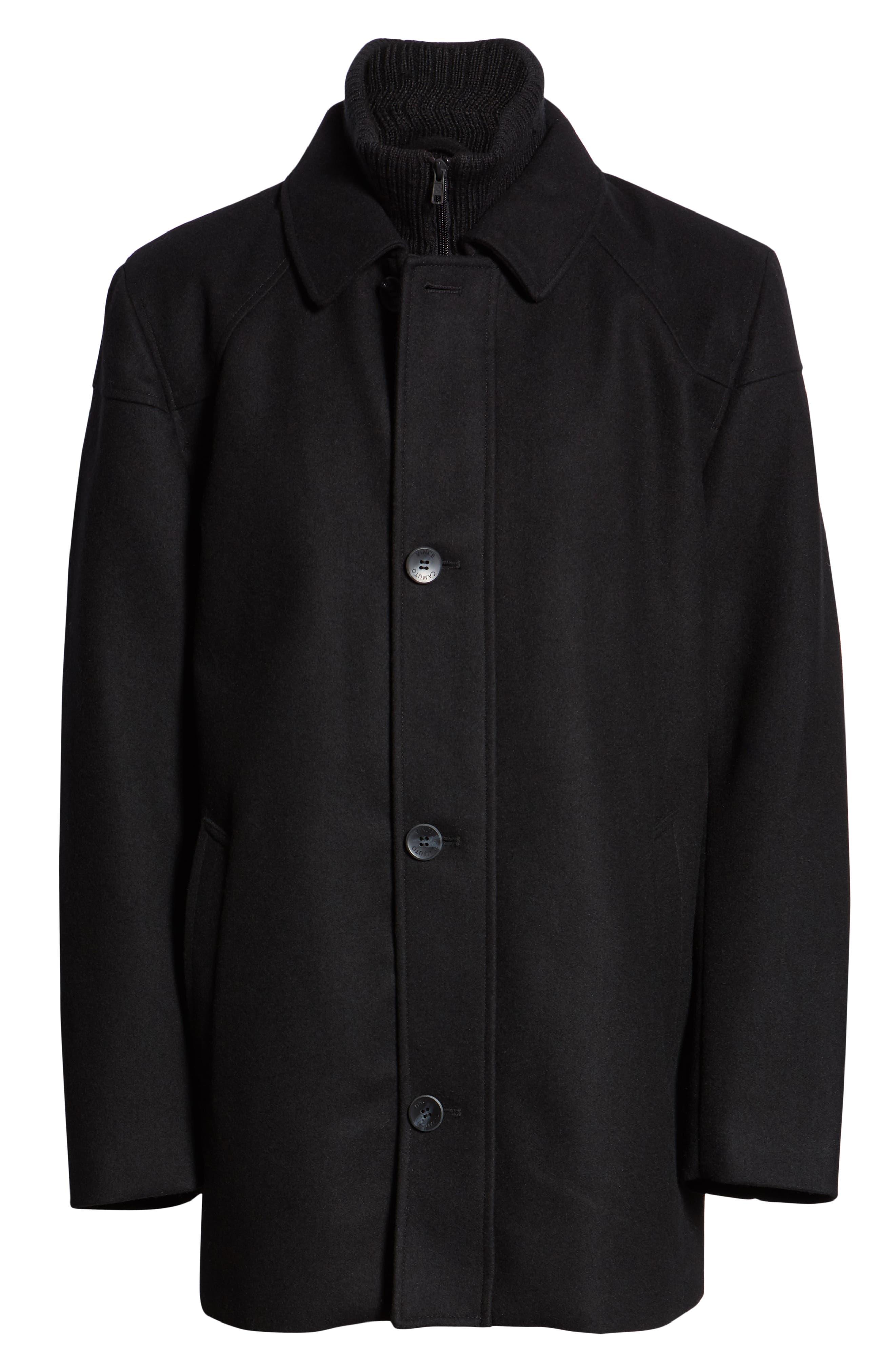 Melton Car Coat with Removable Bib,                             Alternate thumbnail 6, color,                             BLACK
