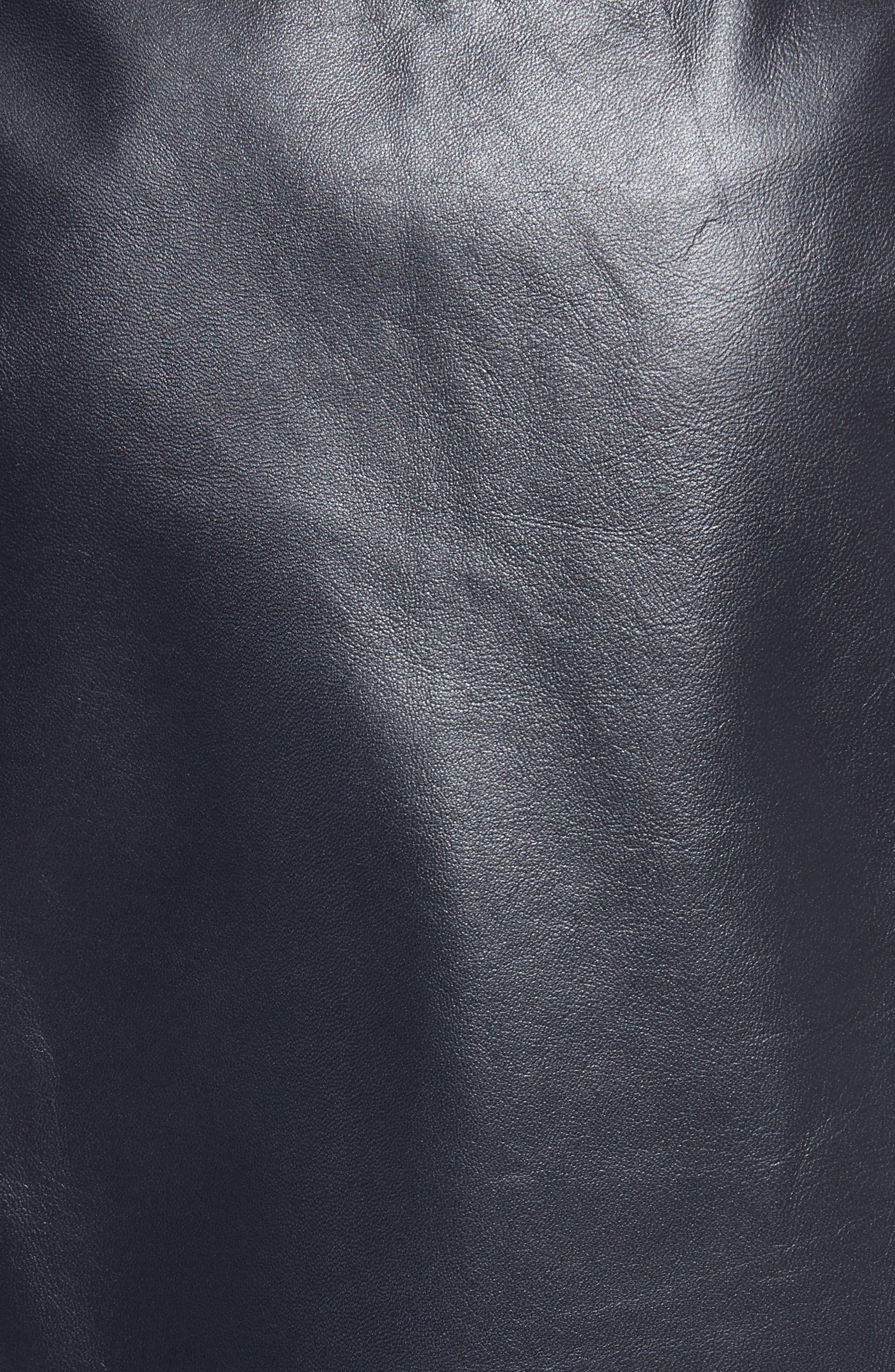 Micro Mini Paper Leather Skirt,                             Alternate thumbnail 5, color,                             410