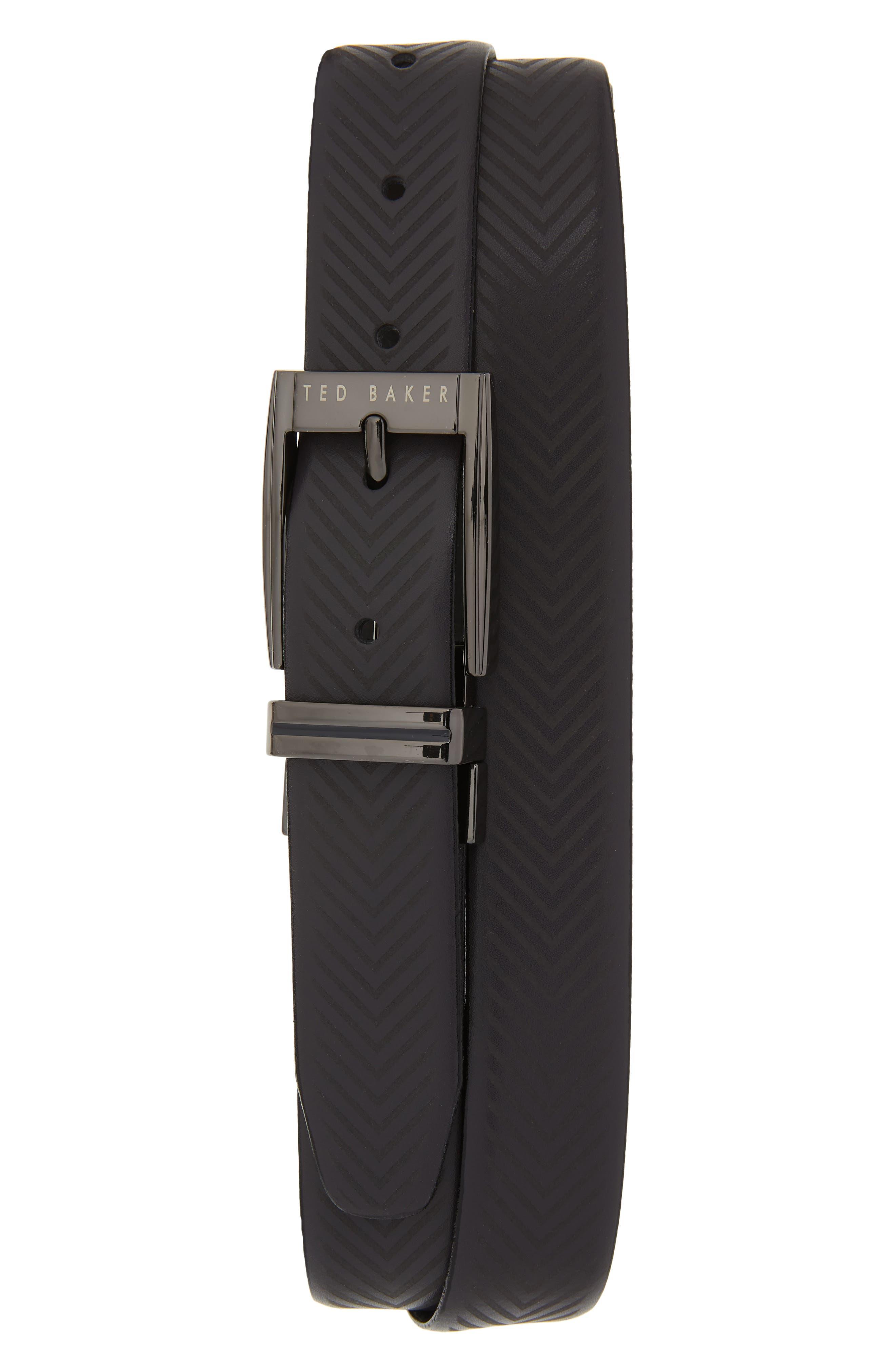 Ted Baker London Herringbone Reversible Belt, Navy