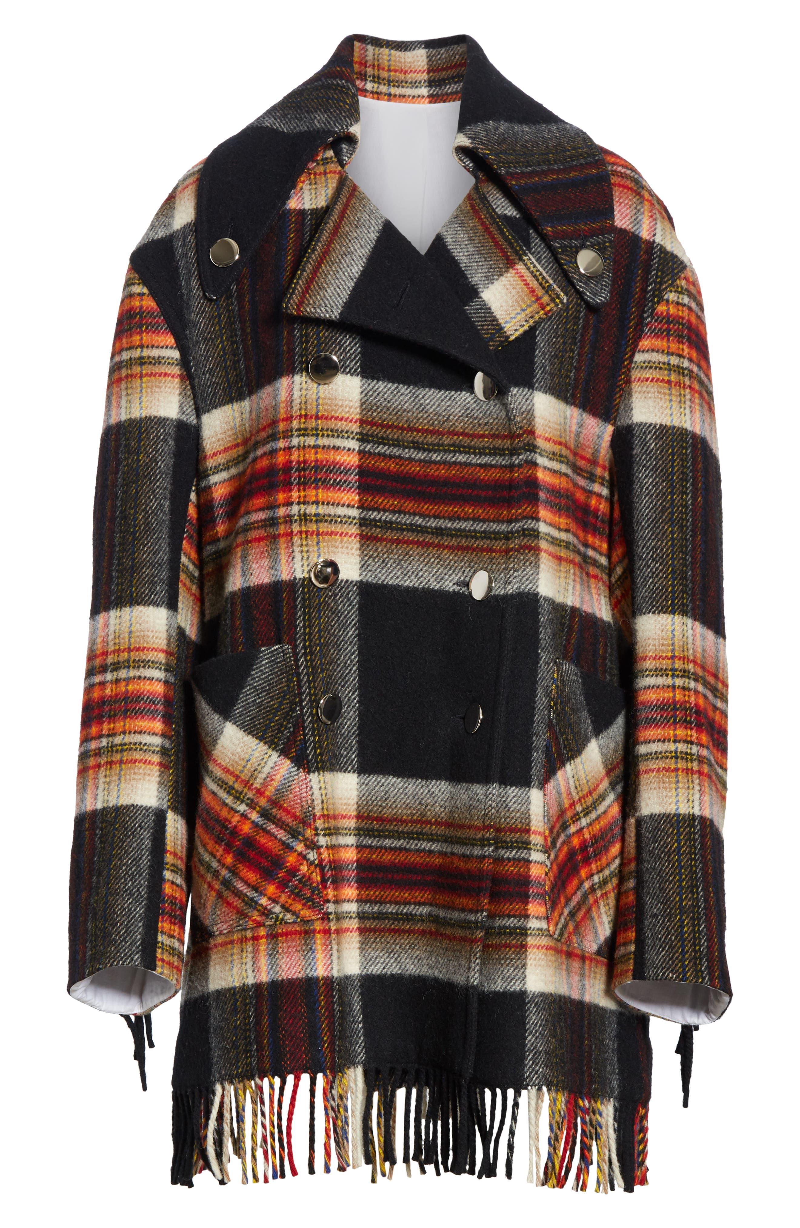 x Pendleton Fringe Plaid Blanket Coat,                             Alternate thumbnail 5, color,                             001