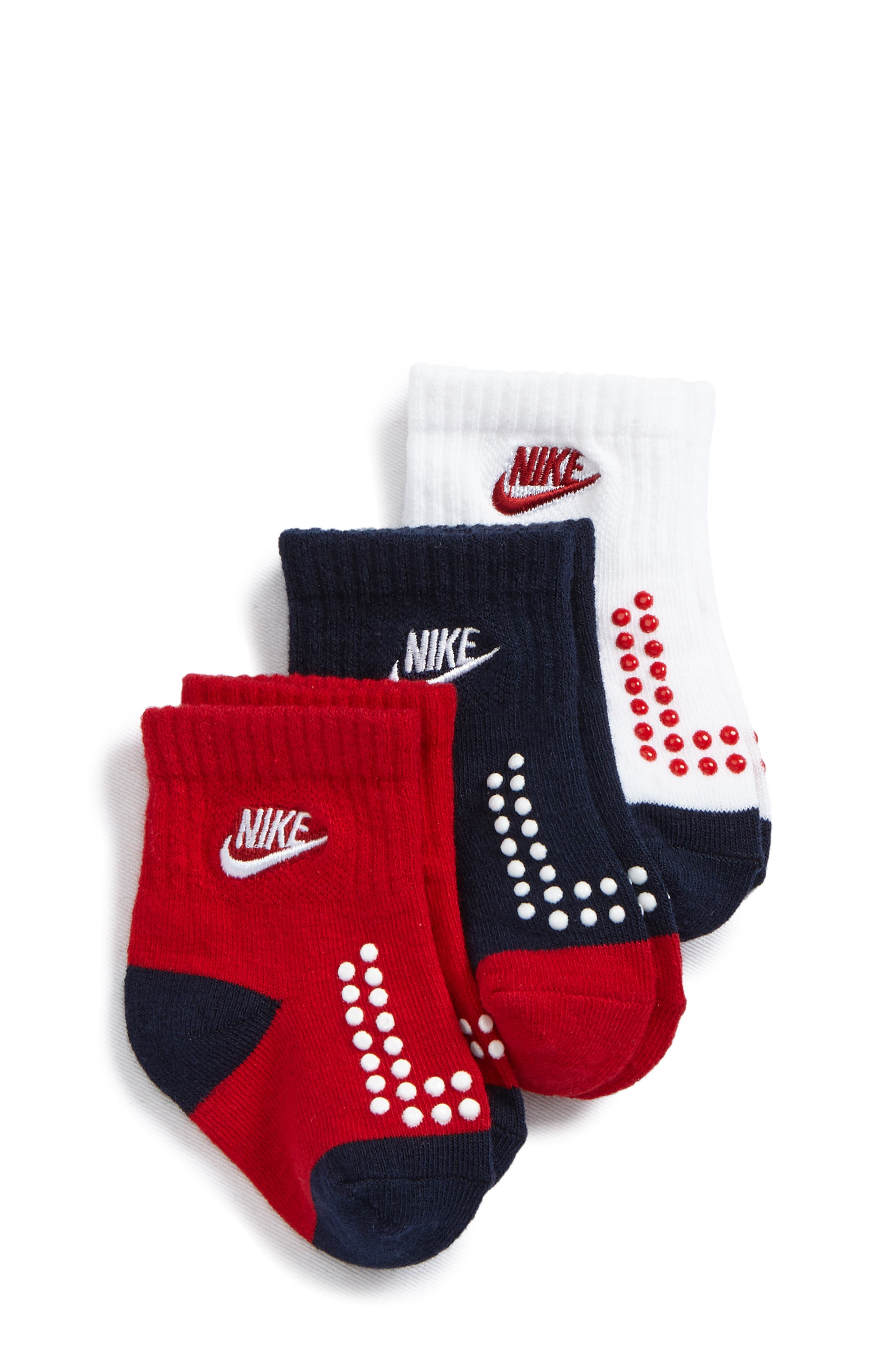 Futura 3-Pack Gripper Socks,                             Main thumbnail 1, color,                             GYM RED