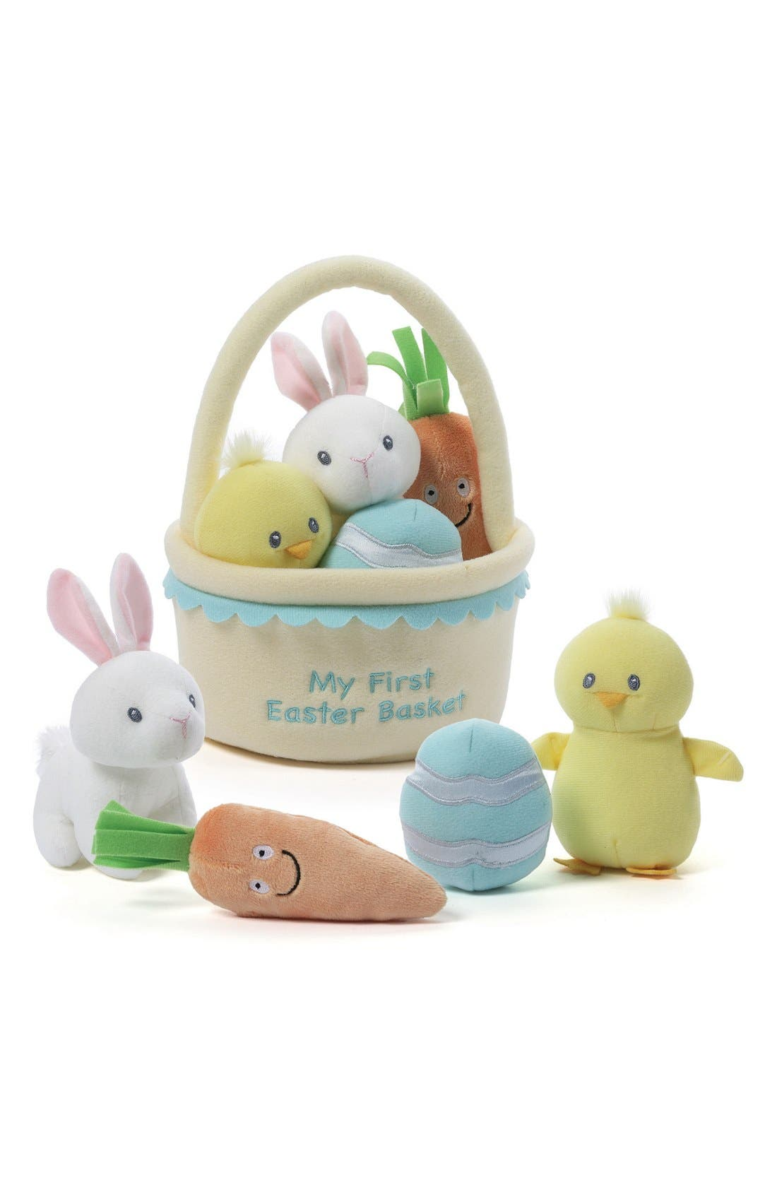 GUND,                             Baby Gund 'My First Easter Basket' Plush Play Set,                             Main thumbnail 1, color,                             YELLOW