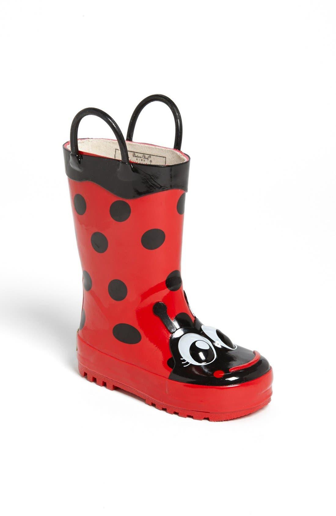 Ladybug Waterproof Rain Boot,                             Main thumbnail 1, color,                             RED