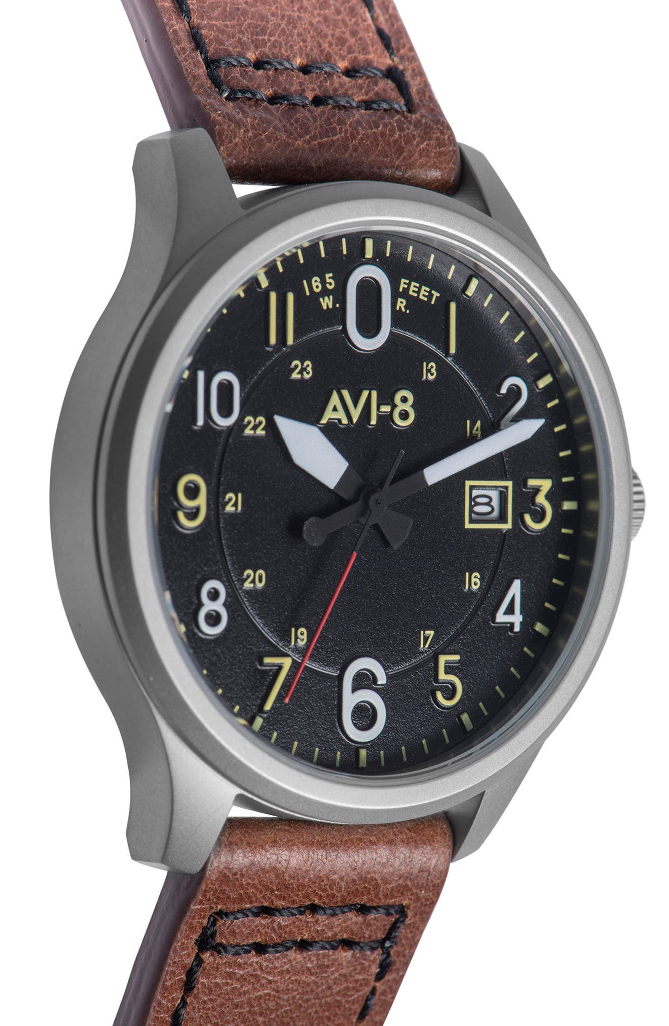 Hawker Hurricane Leather Strap Watch, 43mm,                             Alternate thumbnail 3, color,                             200