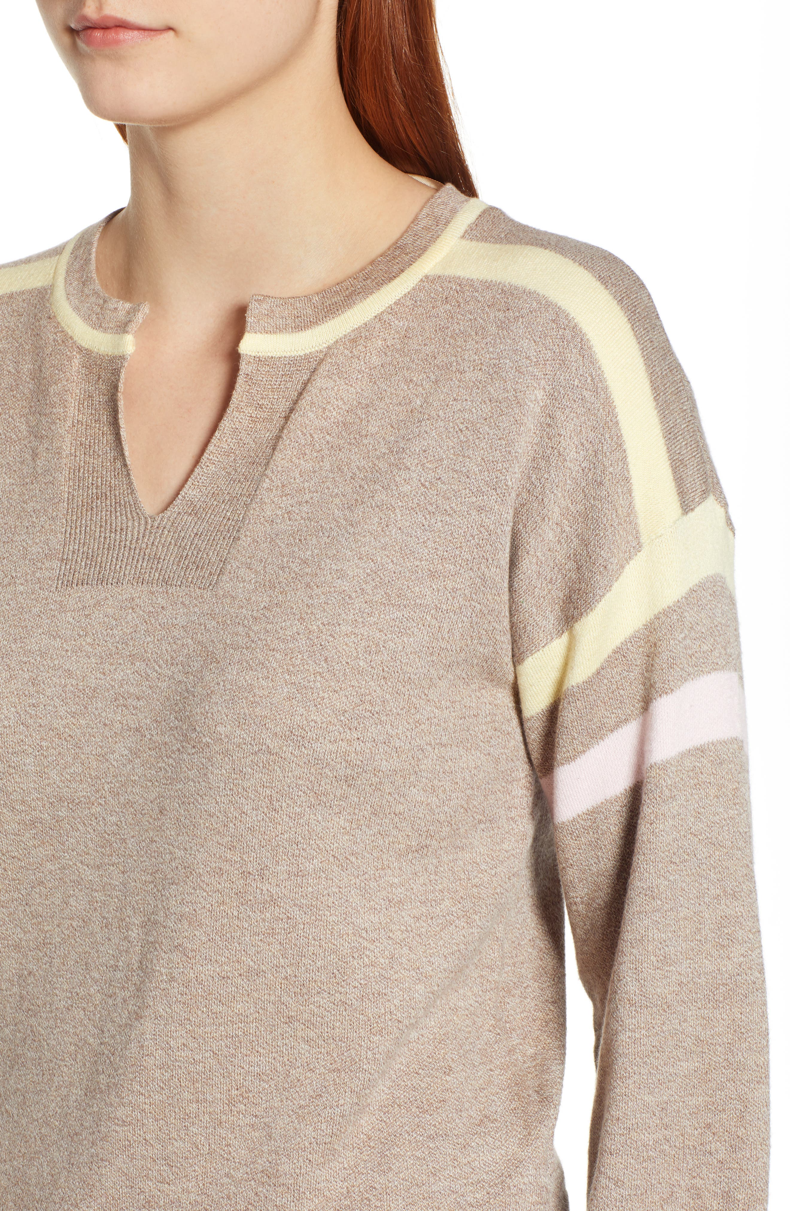 Layered Look Stripe Sweater,                             Alternate thumbnail 4, color,                             HEATHER CLOVE